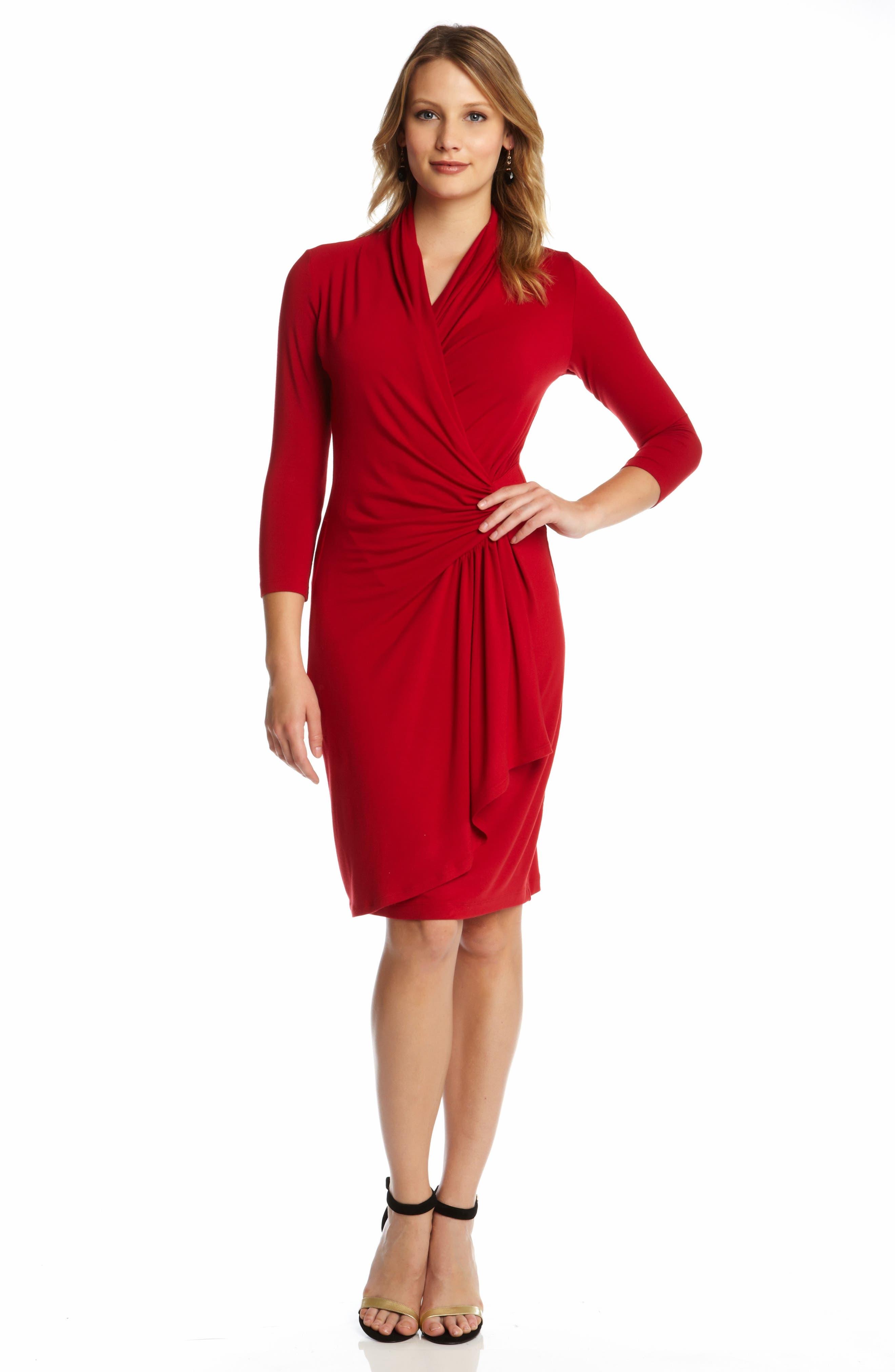 KAREN KANE,                             Cascade Faux Wrap Dress,                             Alternate thumbnail 3, color,                             RED
