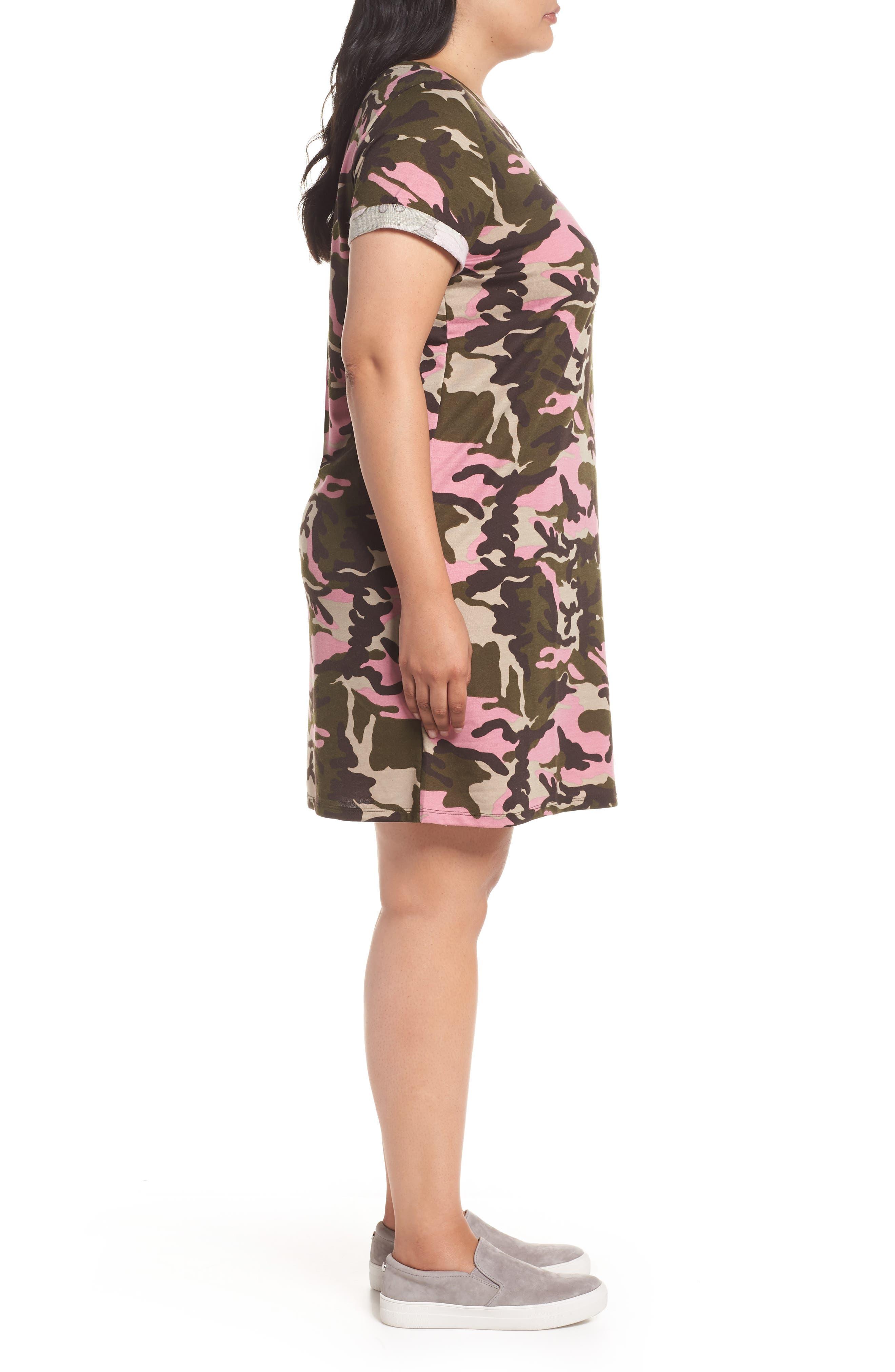 Camo T-Shirt Dress,                             Alternate thumbnail 3, color,                             PINK CAMO