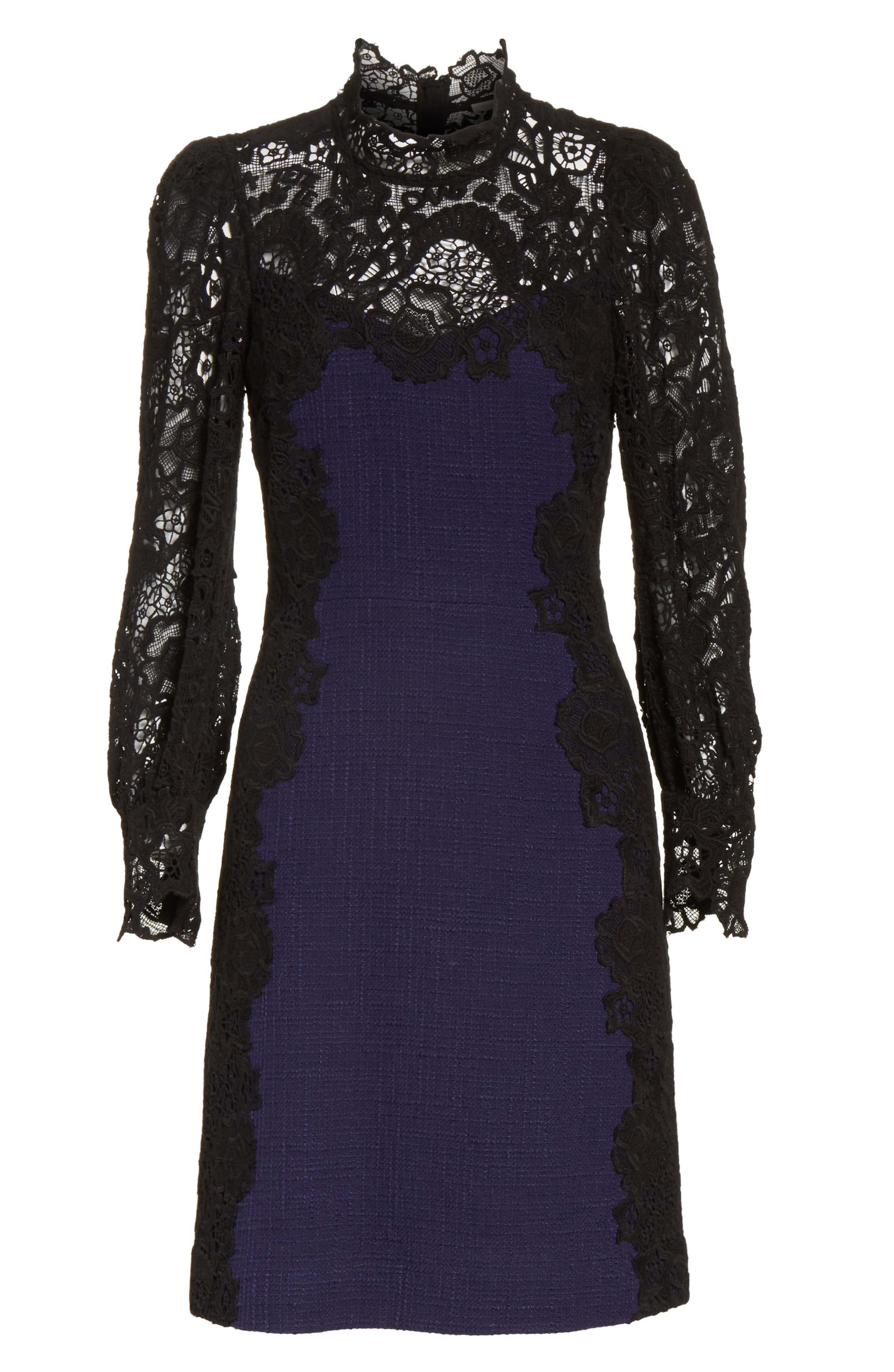 Tweed & Lace Dress,                             Alternate thumbnail 6, color,                             544