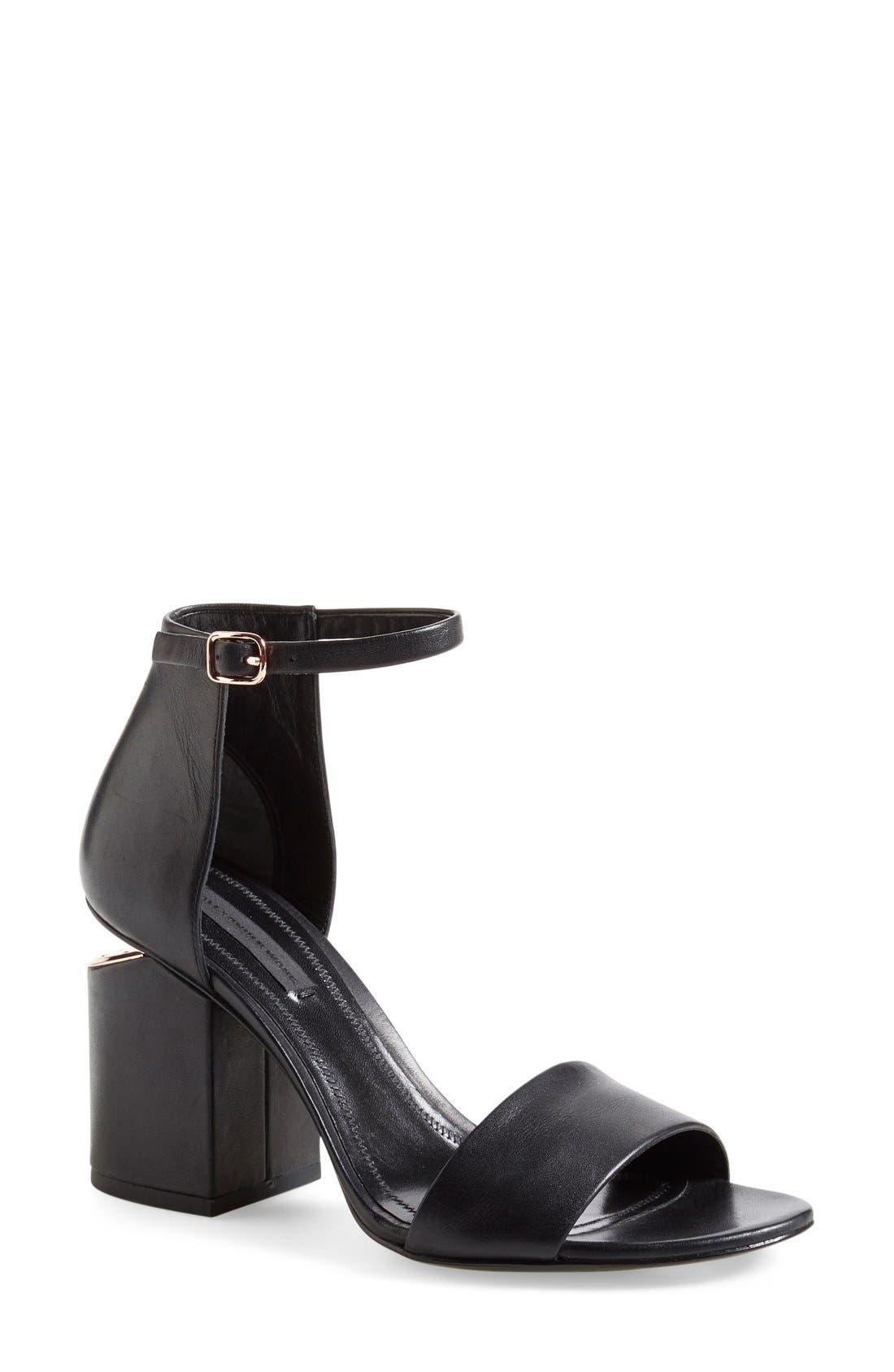 'Abby' Ankle Strap Sandal,                         Main,                         color, BLACK