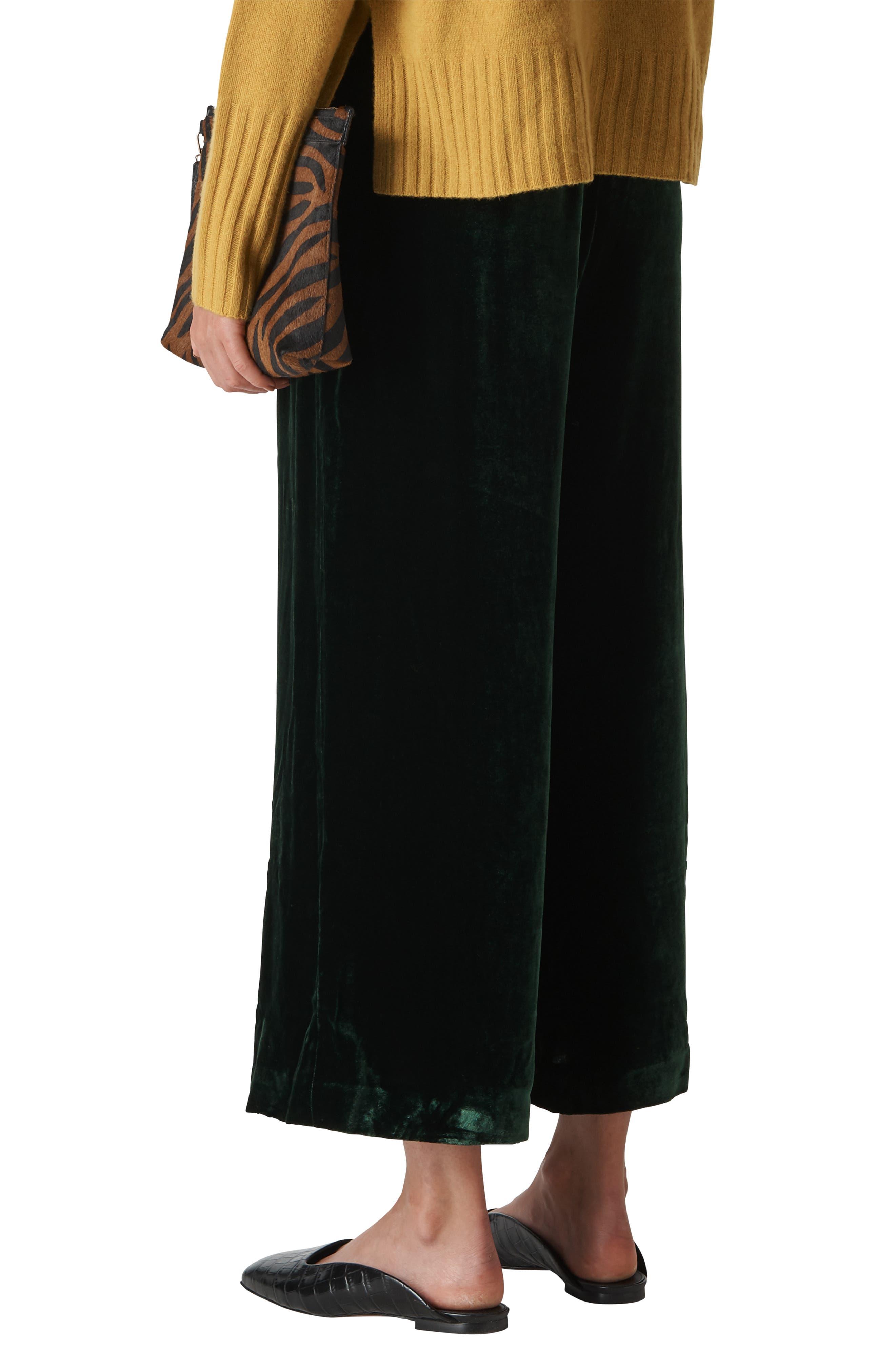 Velvet Crop Trousers,                             Alternate thumbnail 2, color,                             DARK GREEN