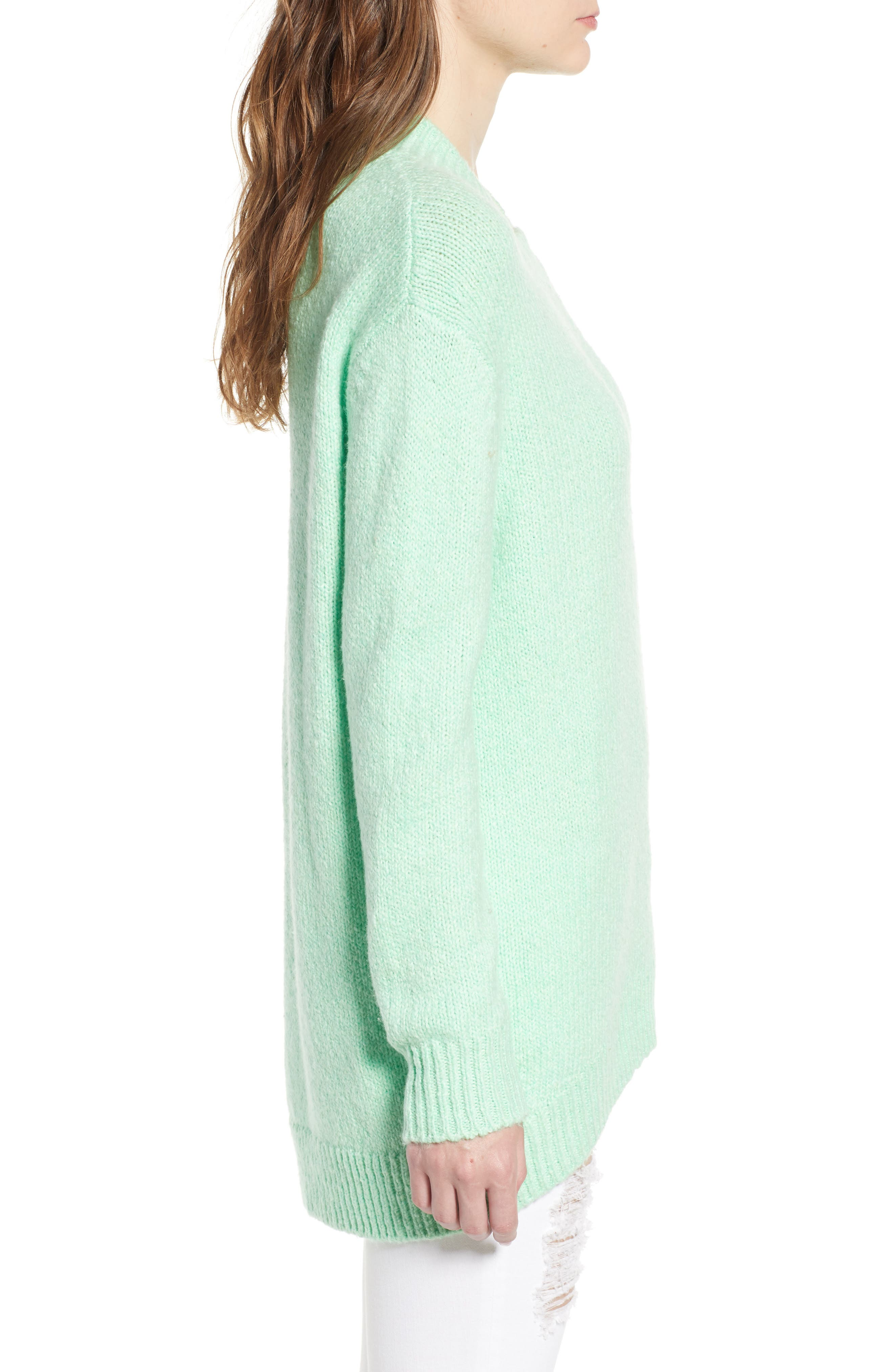 High-Low Sweater,                             Alternate thumbnail 3, color,                             GREEN ASH