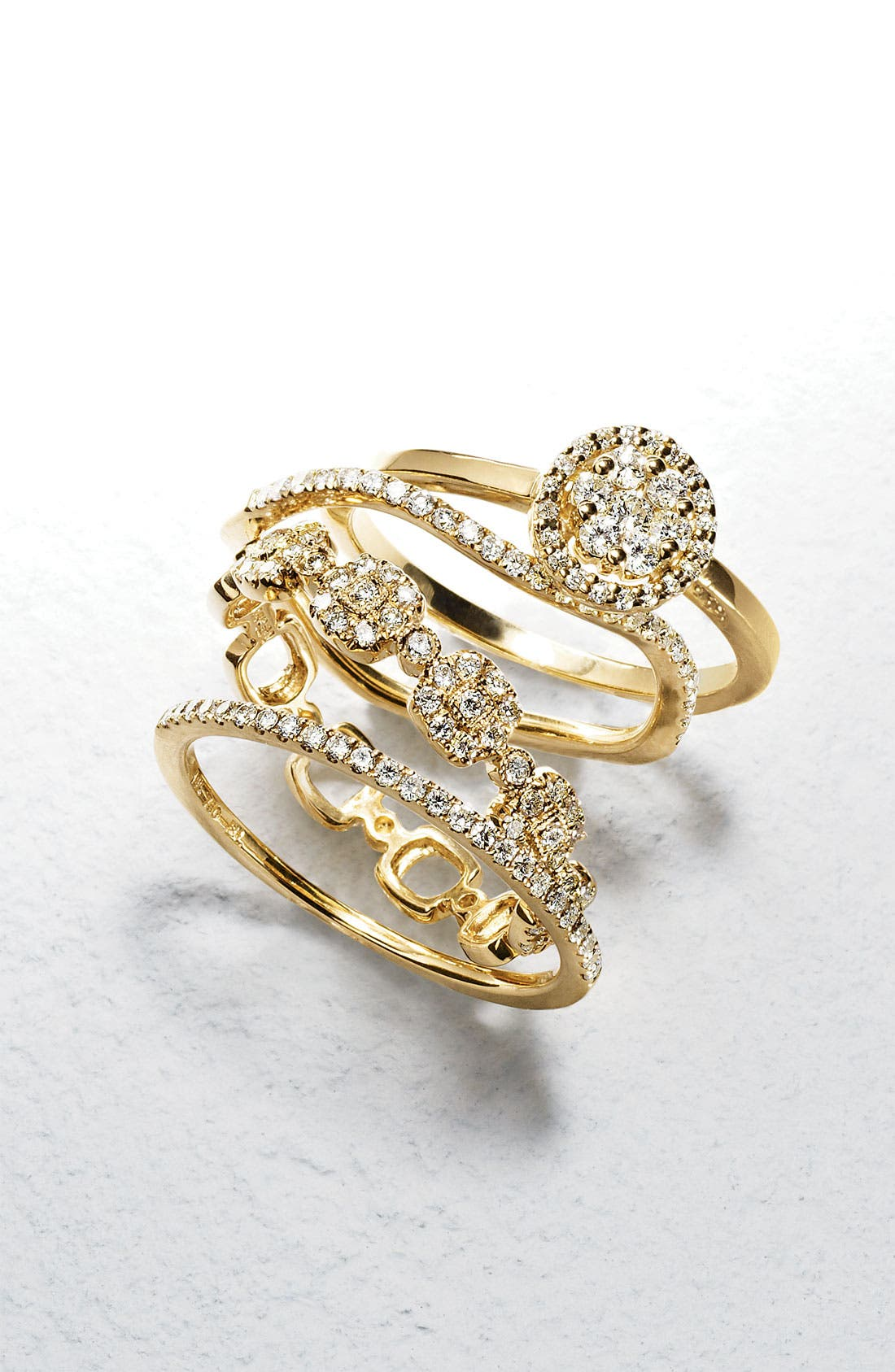 Oval Diamond Stackable Ring,                             Alternate thumbnail 2, color,                             ROSE GOLD