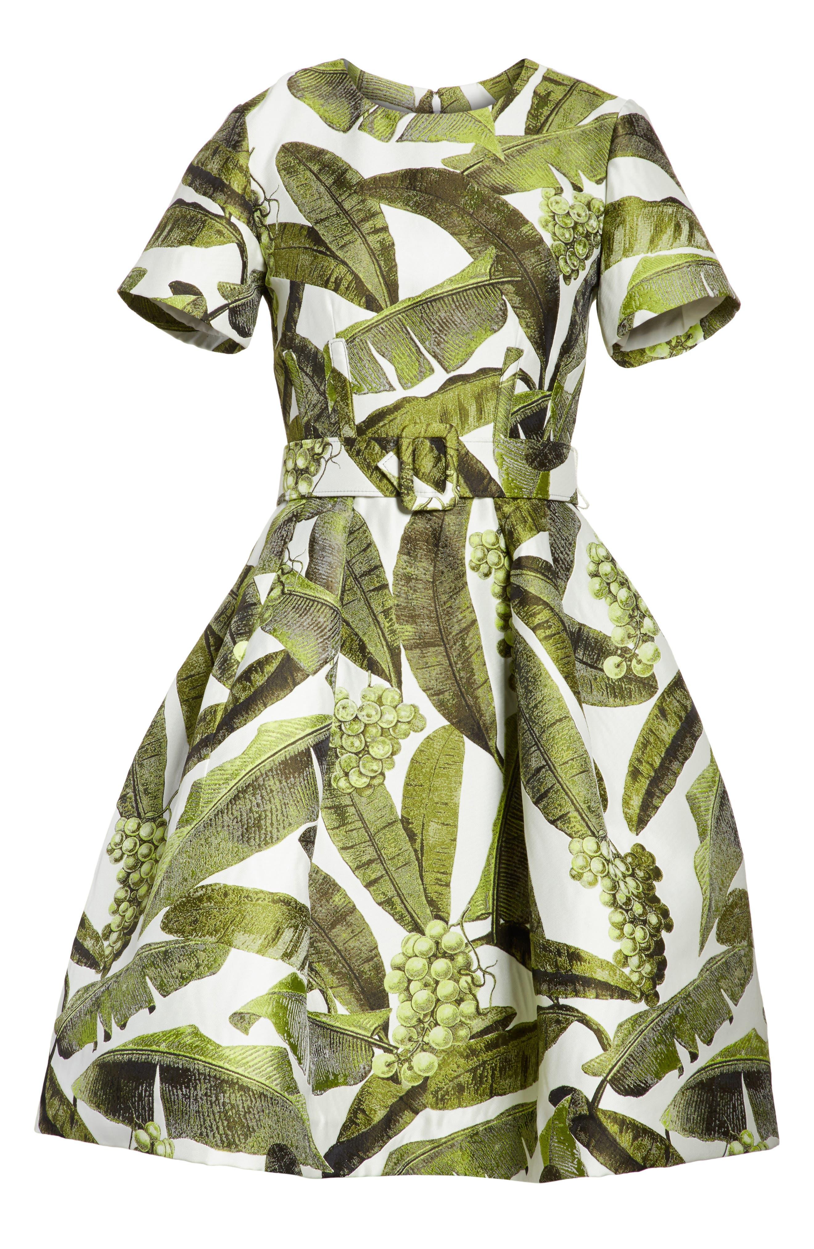 Leaf Jacquard Dress,                             Alternate thumbnail 6, color,                             300