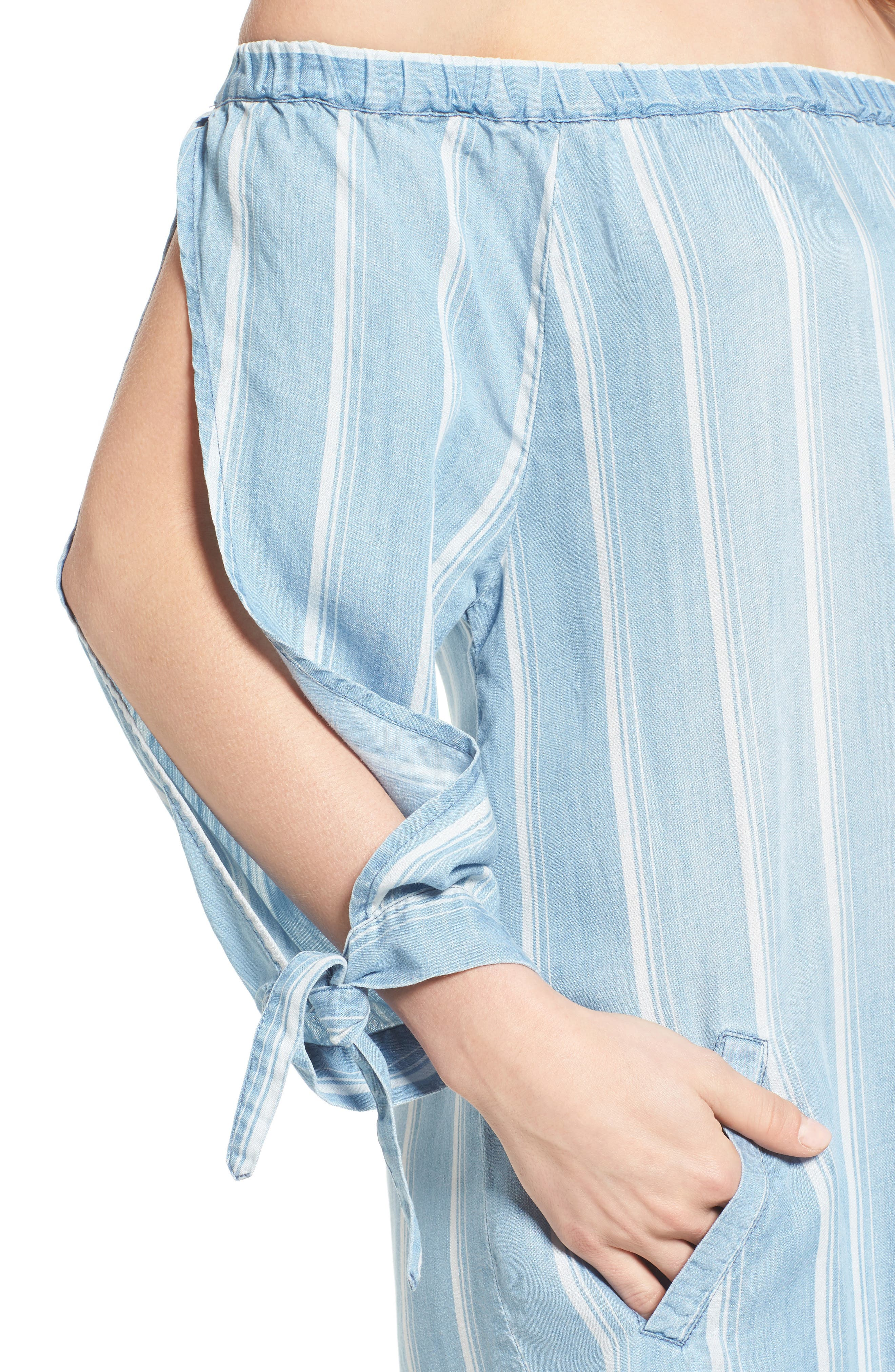 Off the Shoulder Stripe Chambray Dress,                             Alternate thumbnail 4, color,                             400
