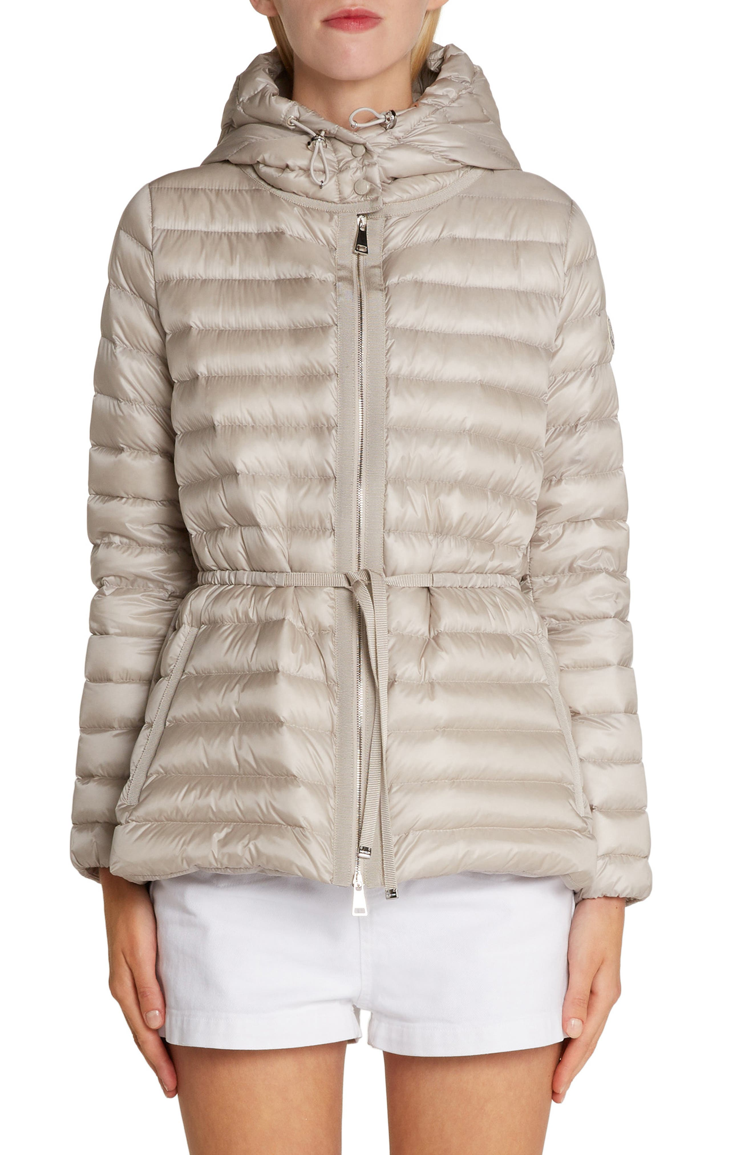 Moncler Raie Tie Waist Hooded Down Coat, Beige