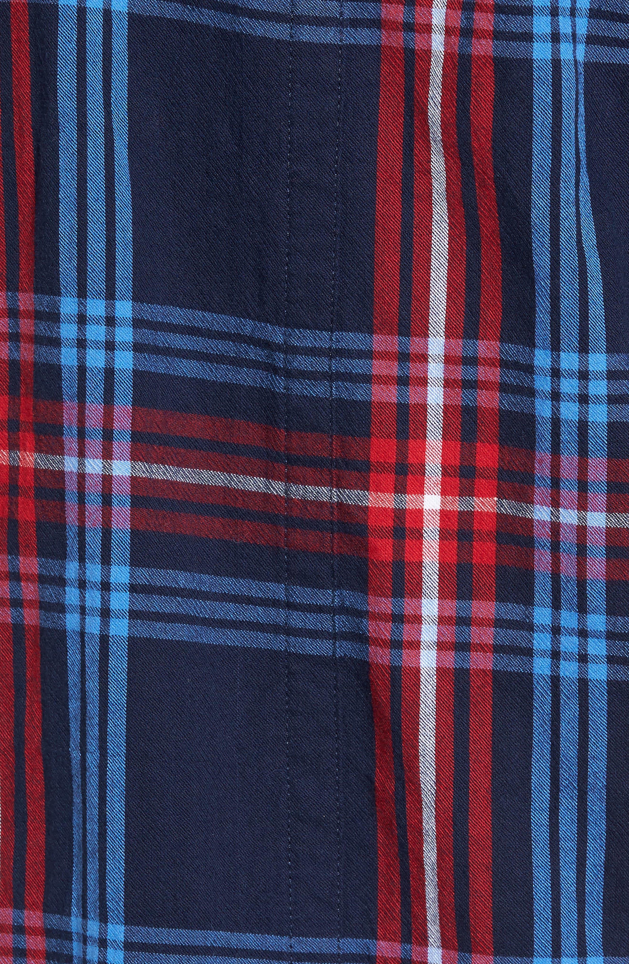 Raw Edge Plaid Woven Shirt,                             Alternate thumbnail 5, color,                             400
