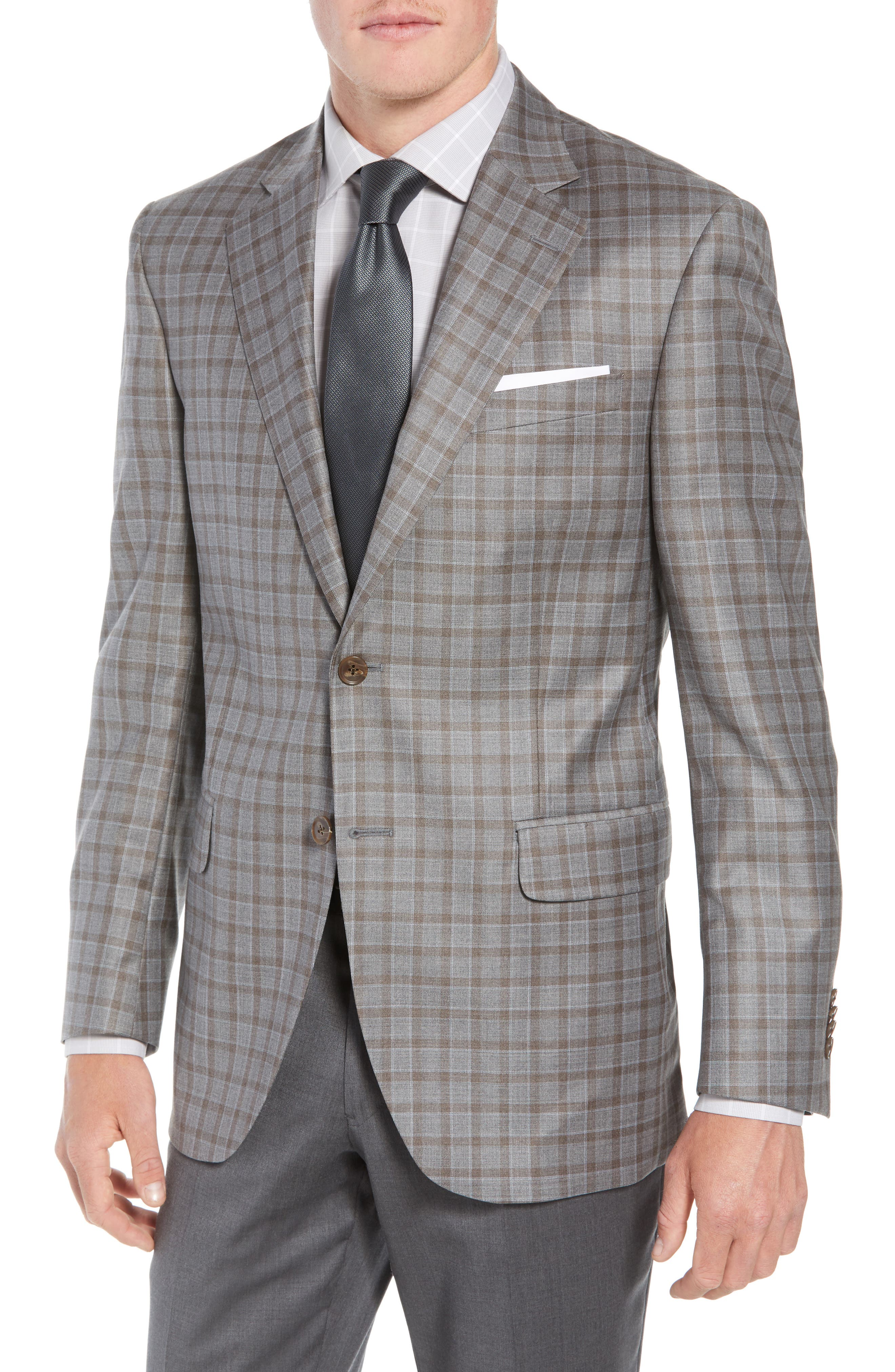 Flynn Classic Fit Check Wool Sport Coat,                             Main thumbnail 1, color,                             TAN