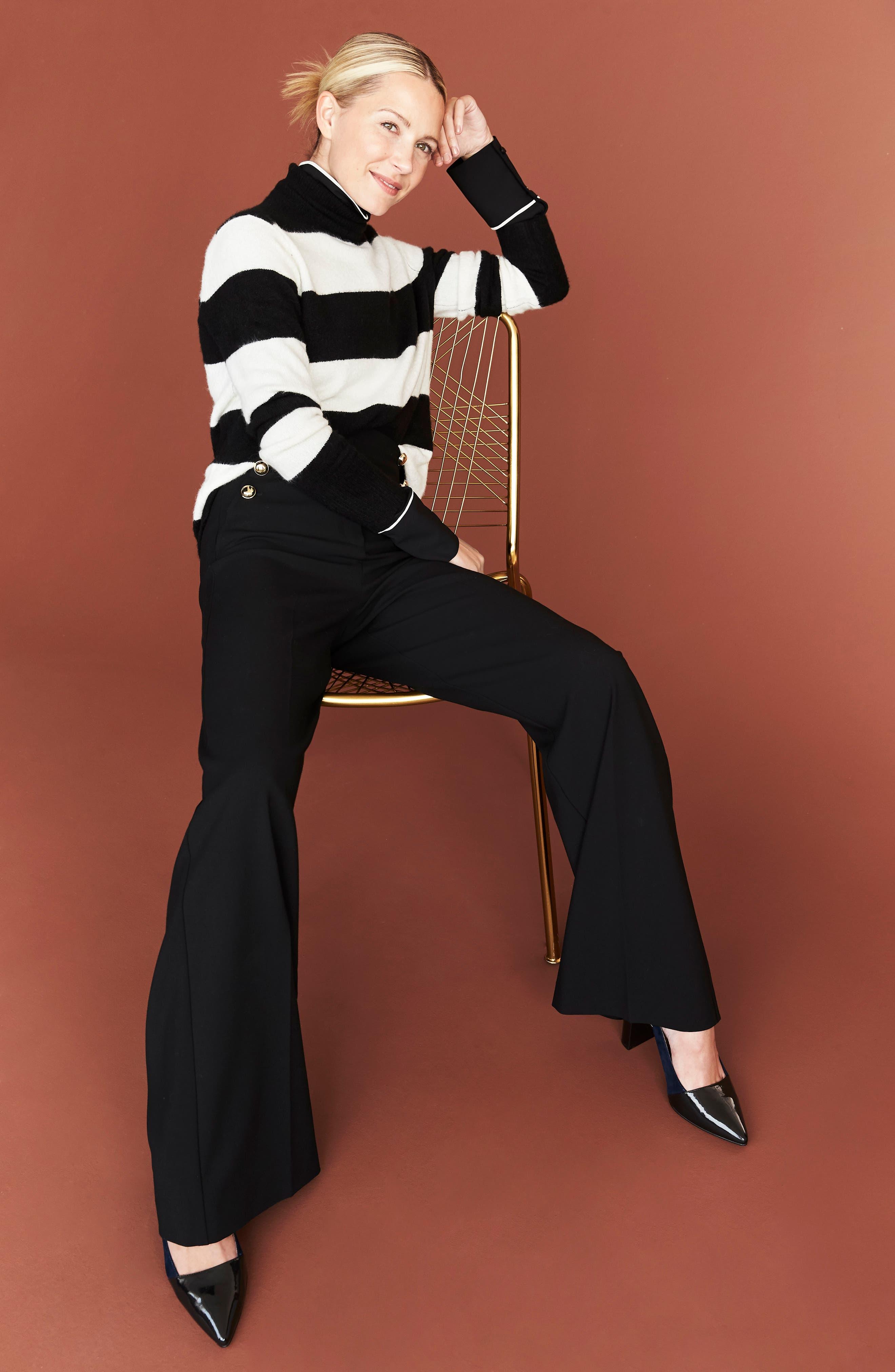 x Atlantic-Pacific Stripe Turtleneck Sweater,                             Alternate thumbnail 9, color,                             BLACK- IVORY STRIPE
