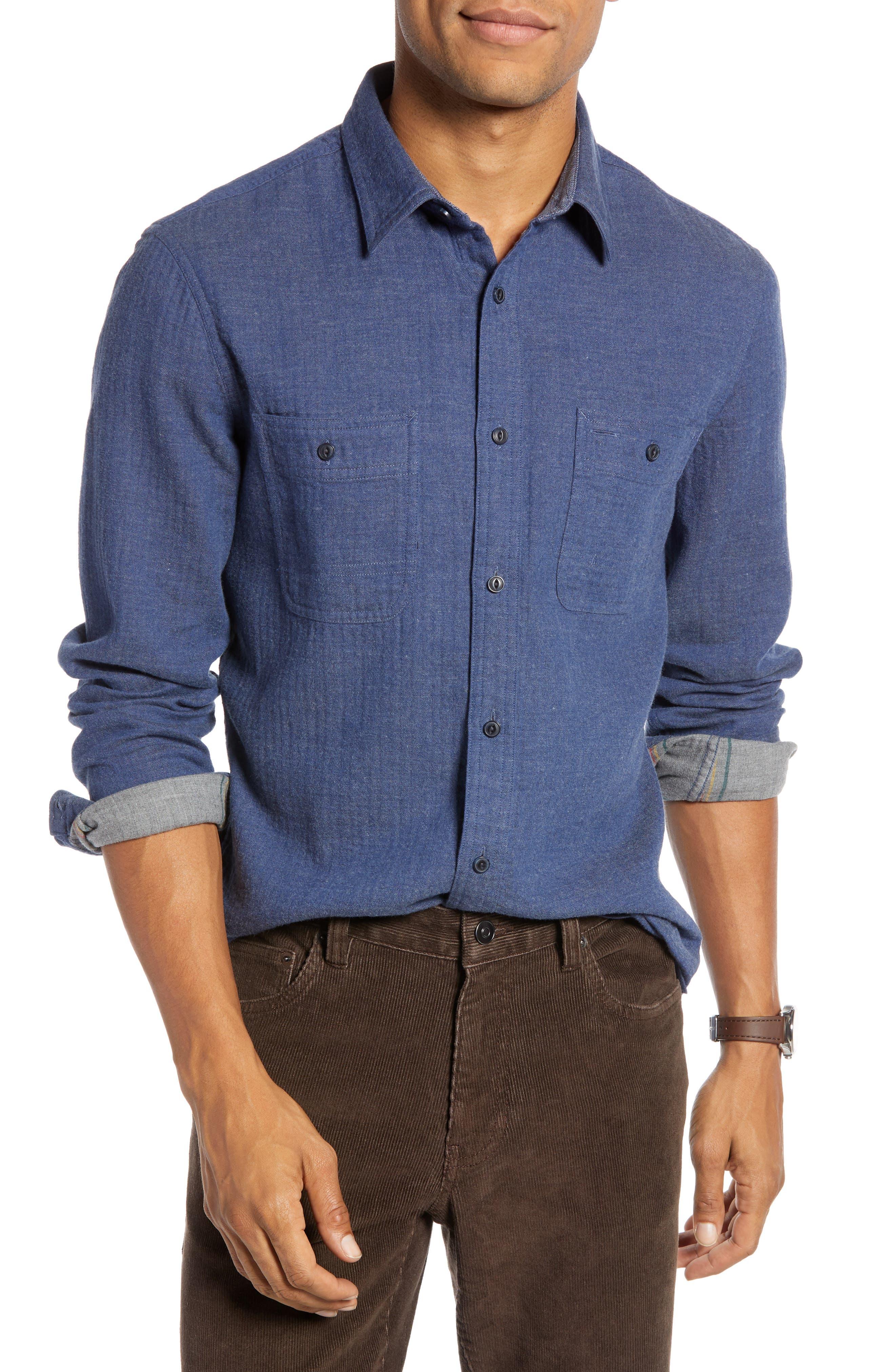 1901 Workwear Duofold Trim Fit Sport Shirt, Blue