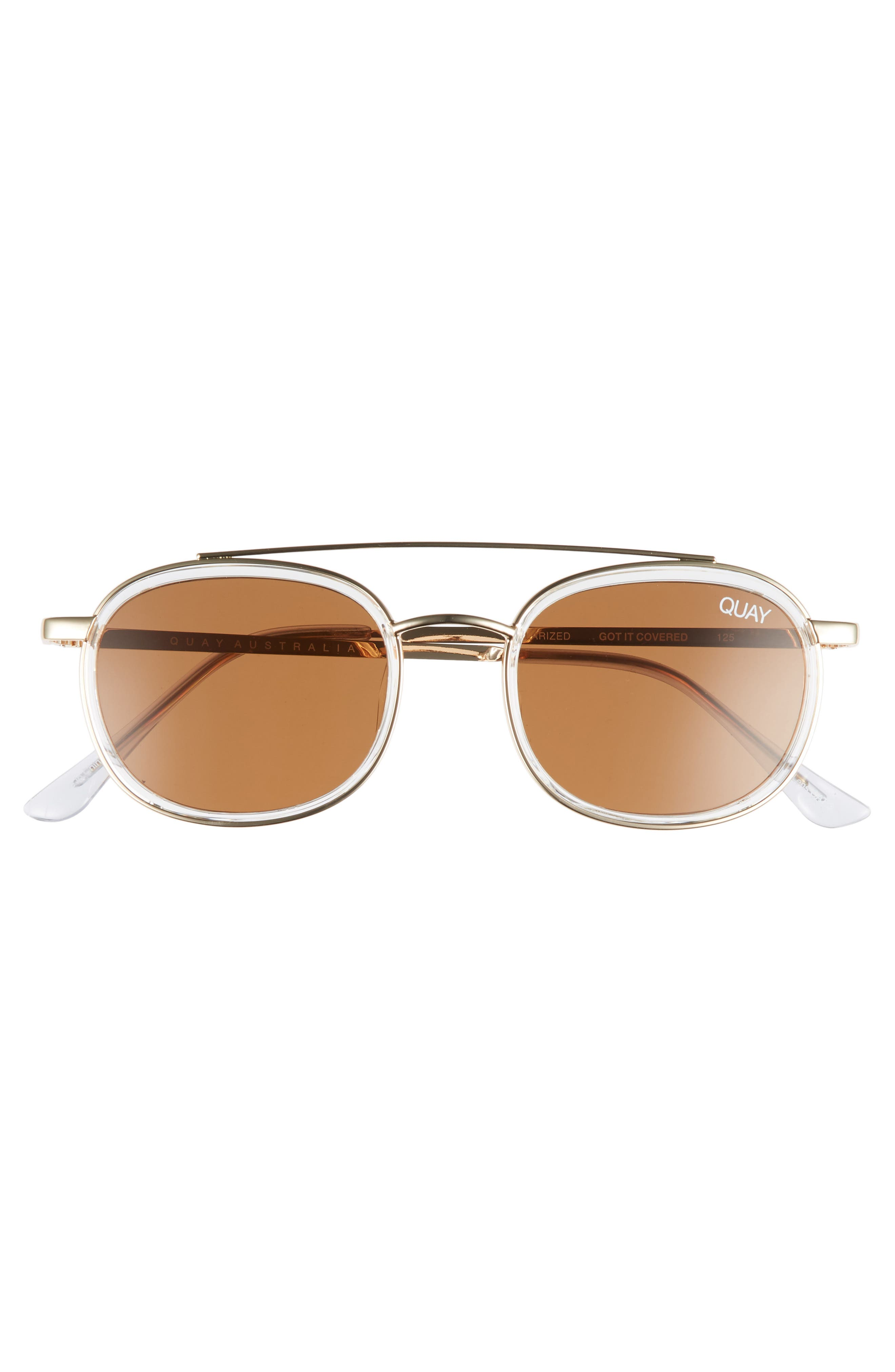 Got It Covered 50mm Polarized Sunglasses,                             Alternate thumbnail 2, color,                             CLEAR / BROWN LENS