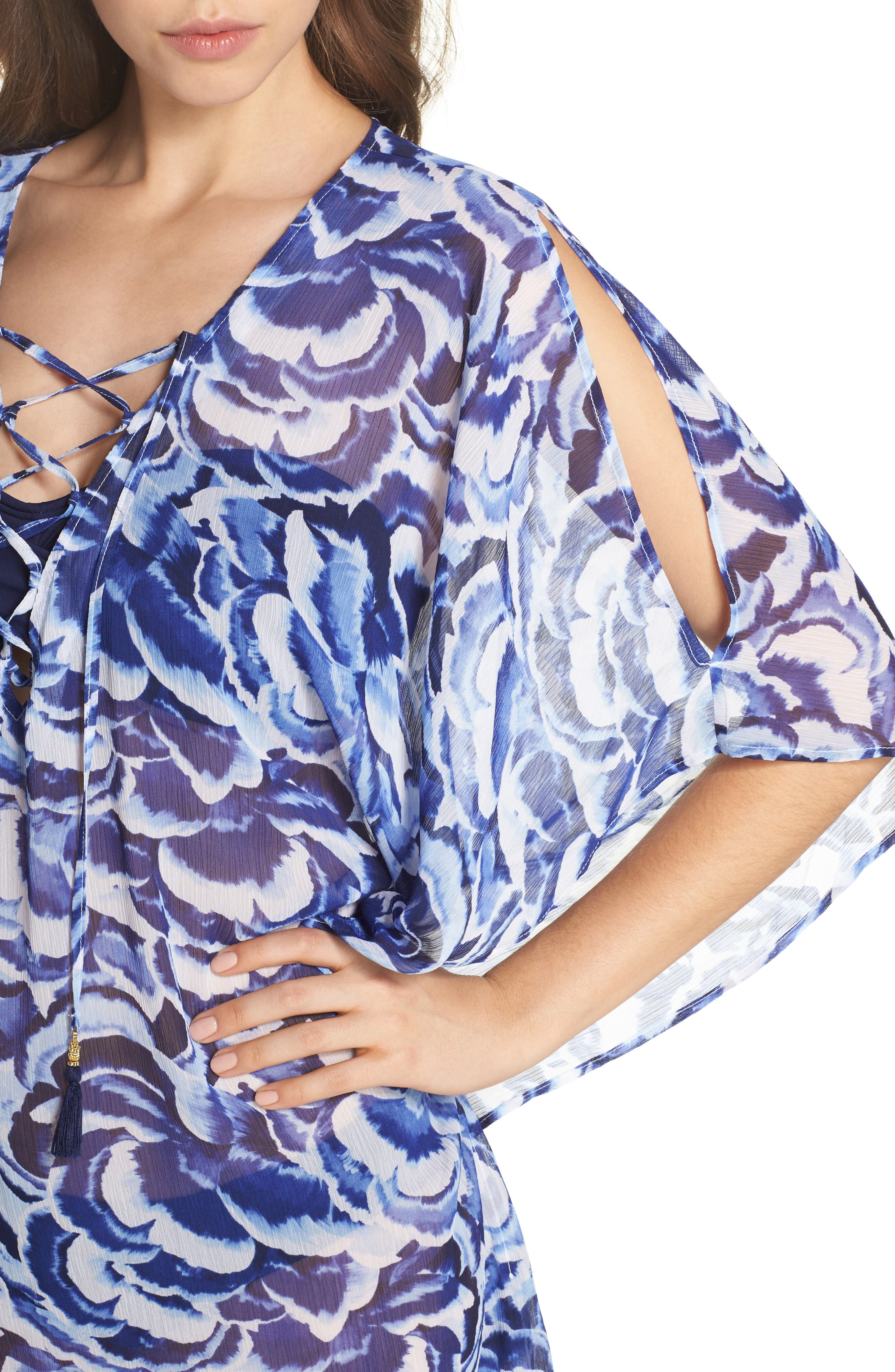 Pansy Petals Tunic Cover Up,                             Alternate thumbnail 4, color,                             100