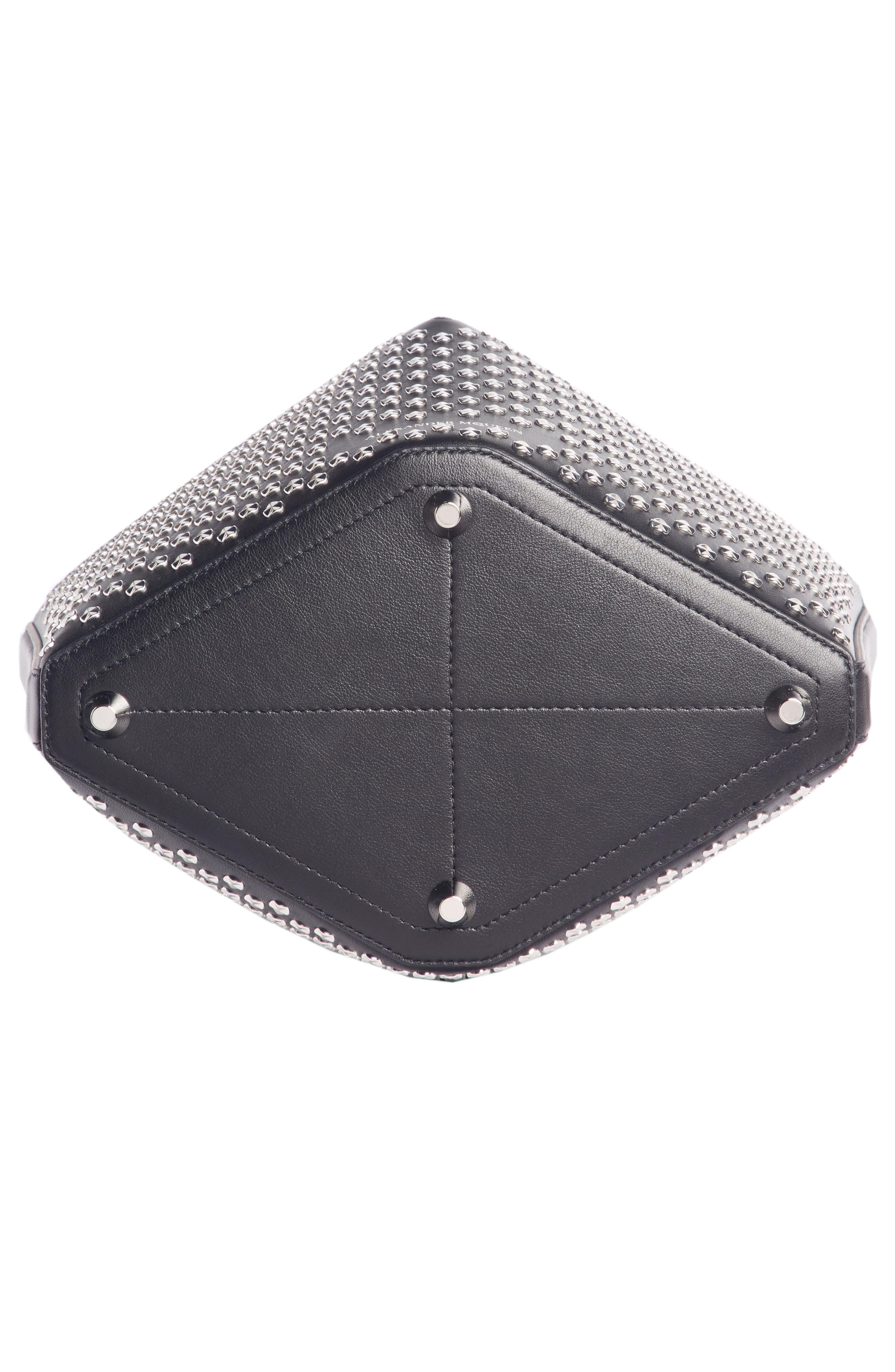 Studded Leather Bucket Bag,                             Alternate thumbnail 5, color,                             BLACK