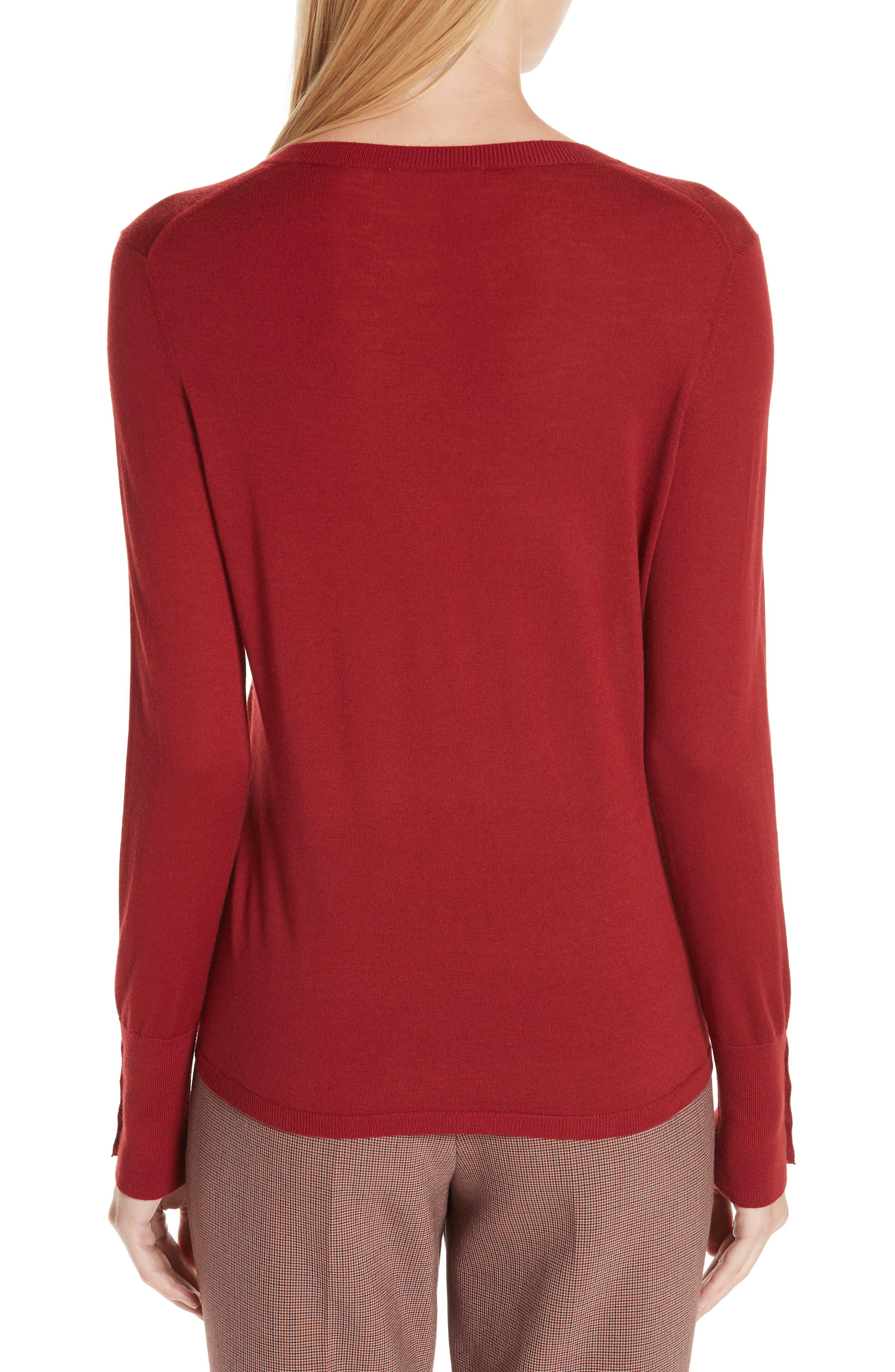 Frankie Cuff Detail Wool Sweater,                             Alternate thumbnail 2, color,                             DARK RED
