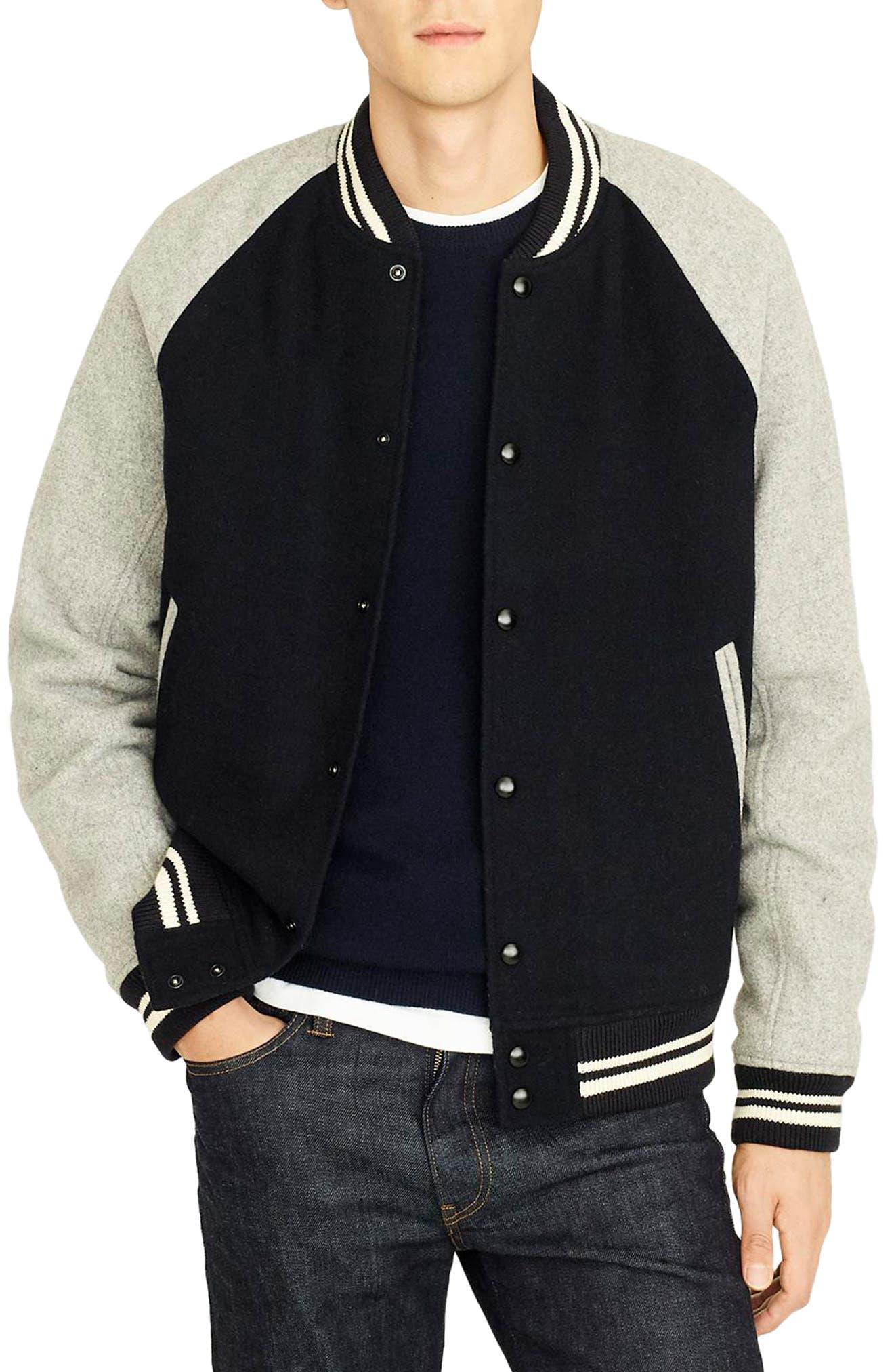 Letterman Wool Blend Jacket,                         Main,                         color, DEEPEST NAVY
