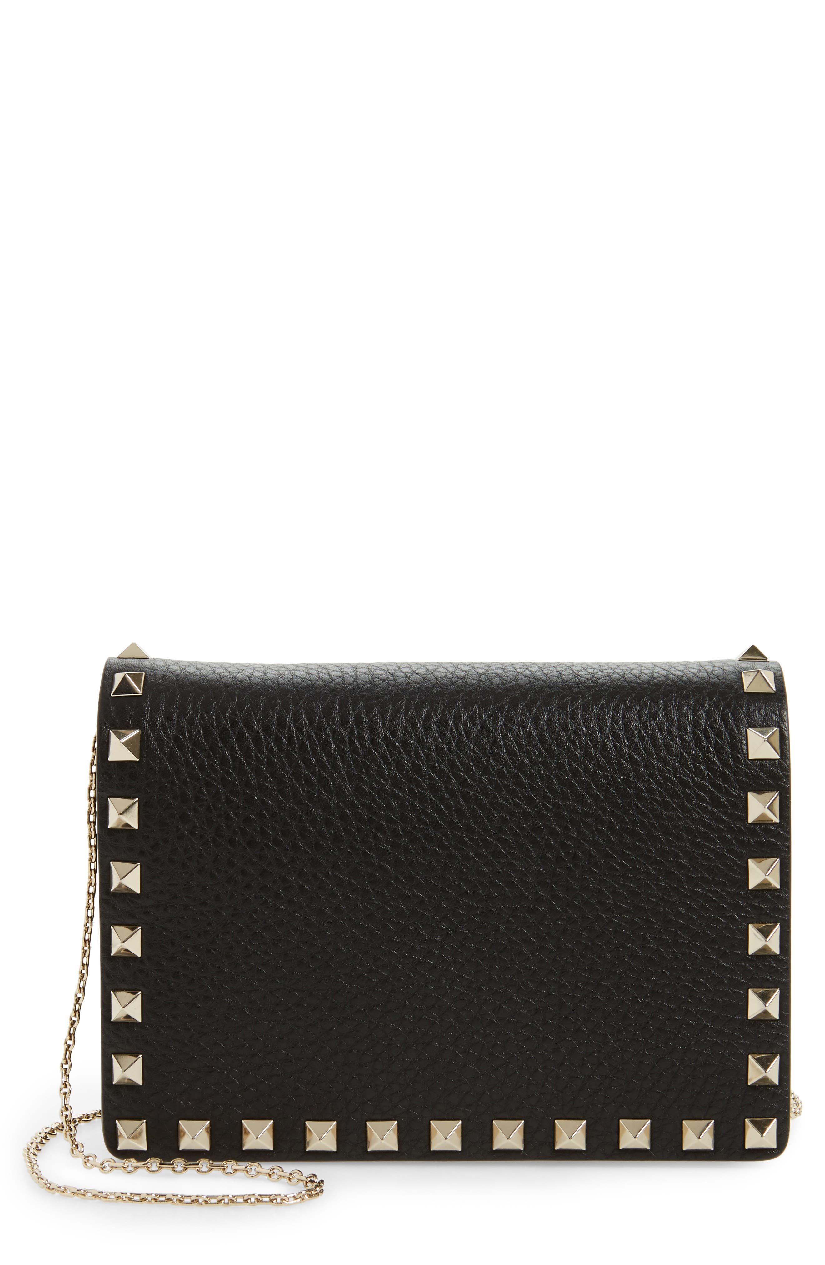 Rockstud Leather Pouch Wallet on a Chain,                         Main,                         color, BLACK