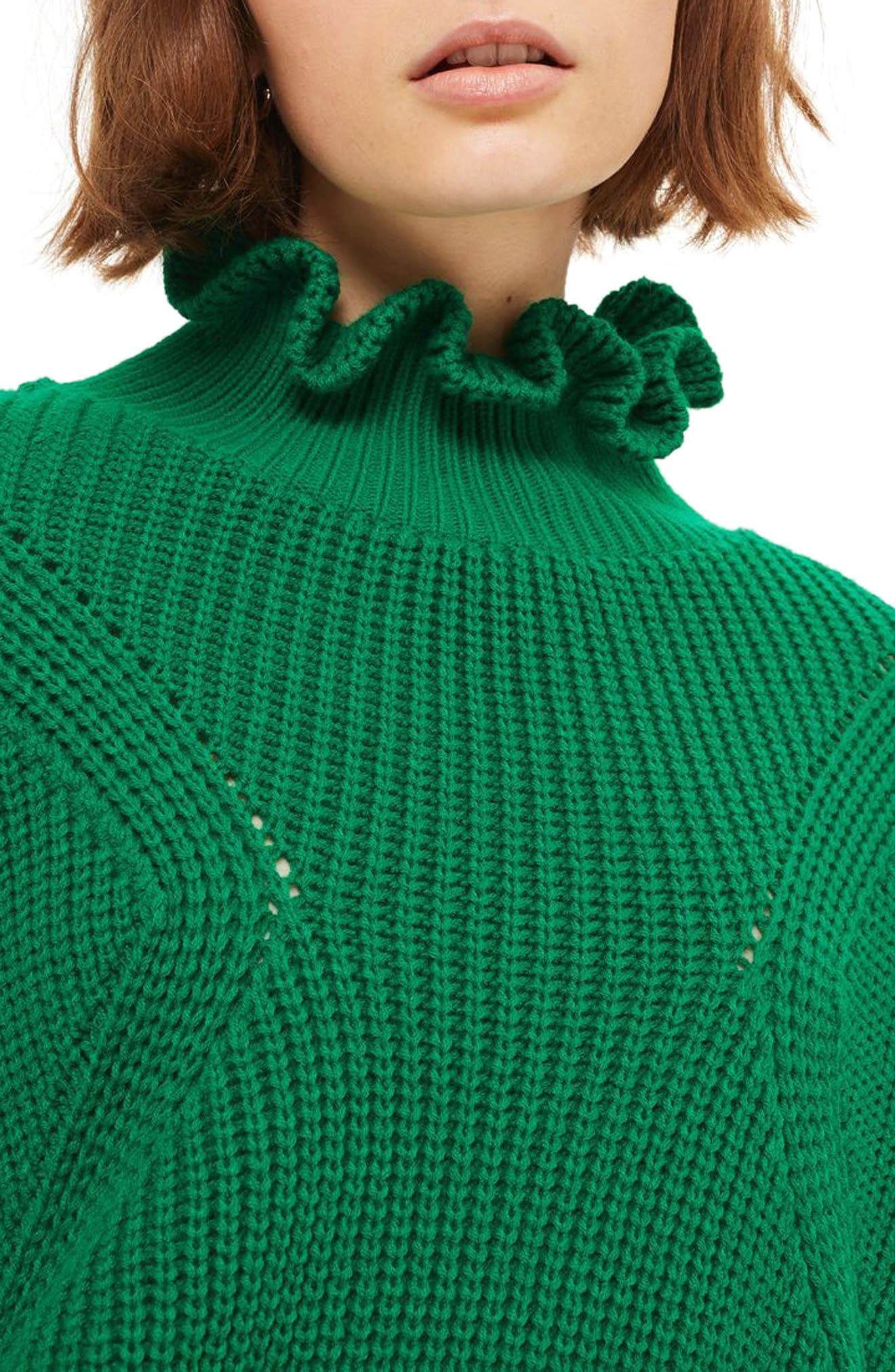 Frill Neck Sweater,                             Alternate thumbnail 4, color,                             300