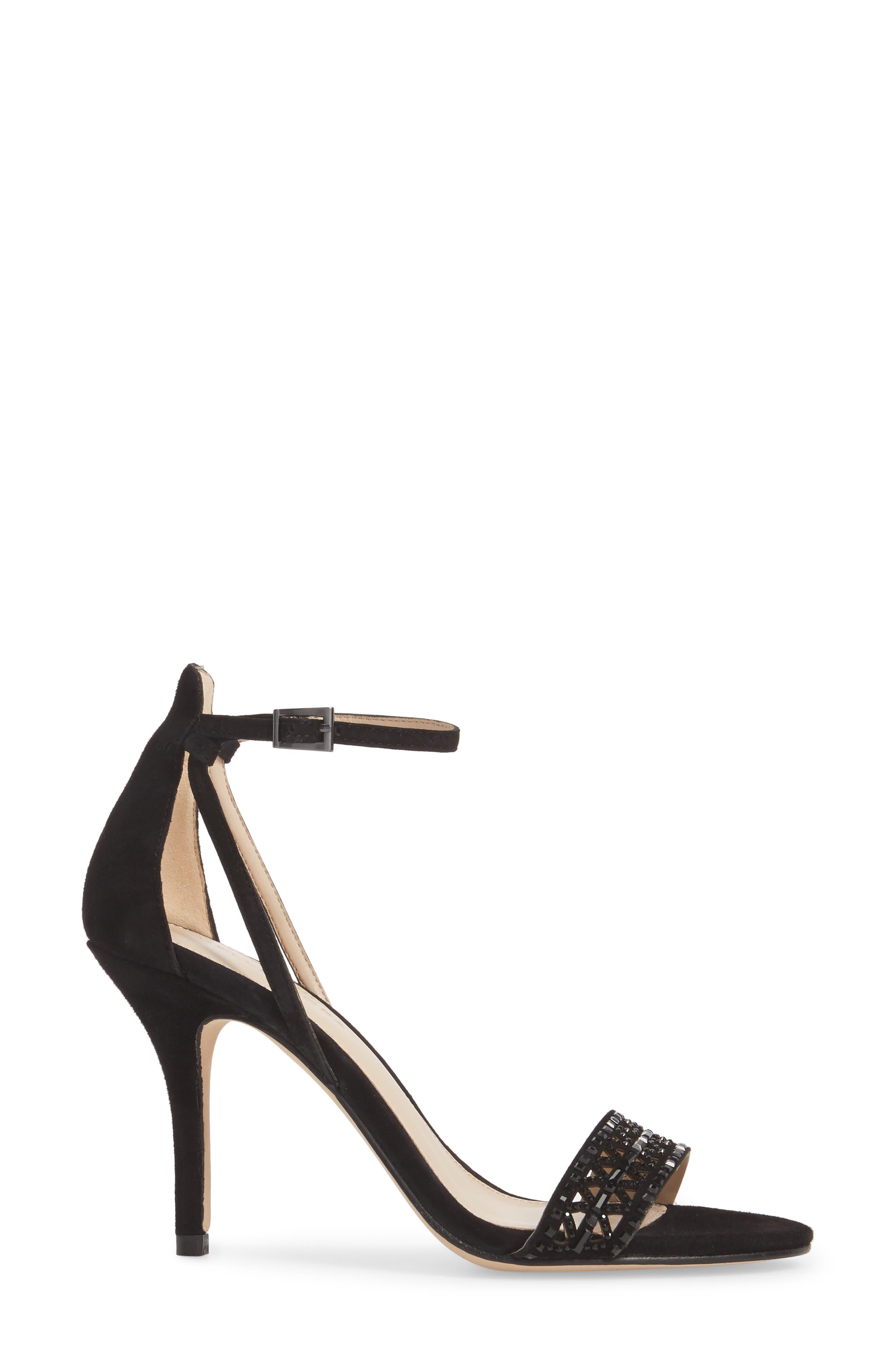 Karmina Embellished Sandal,                             Alternate thumbnail 3, color,                             BLACK SUEDE
