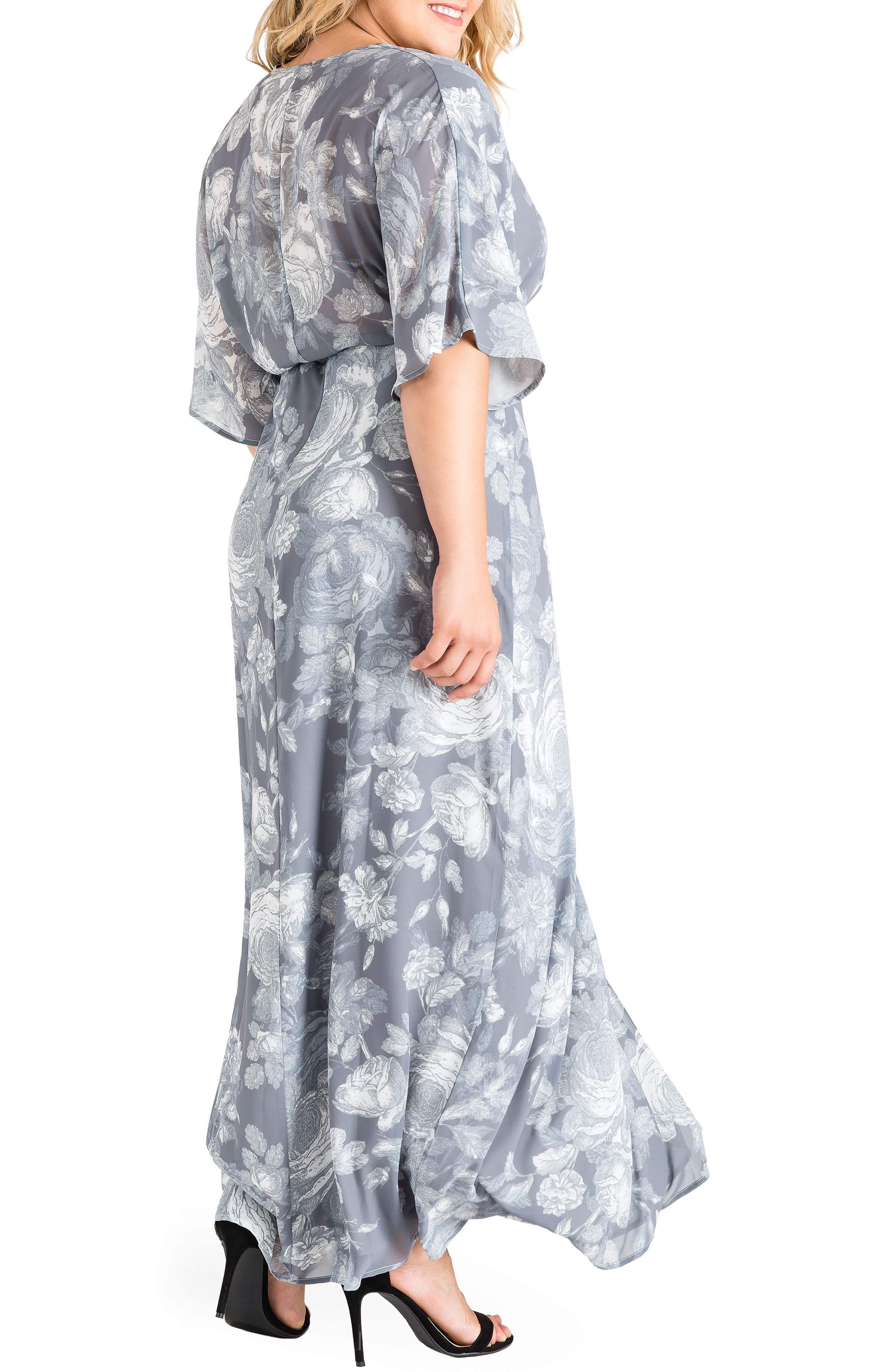 Olivia Print Wrap Maxi Dress,                             Alternate thumbnail 3, color,                             SMOKEY ROSE