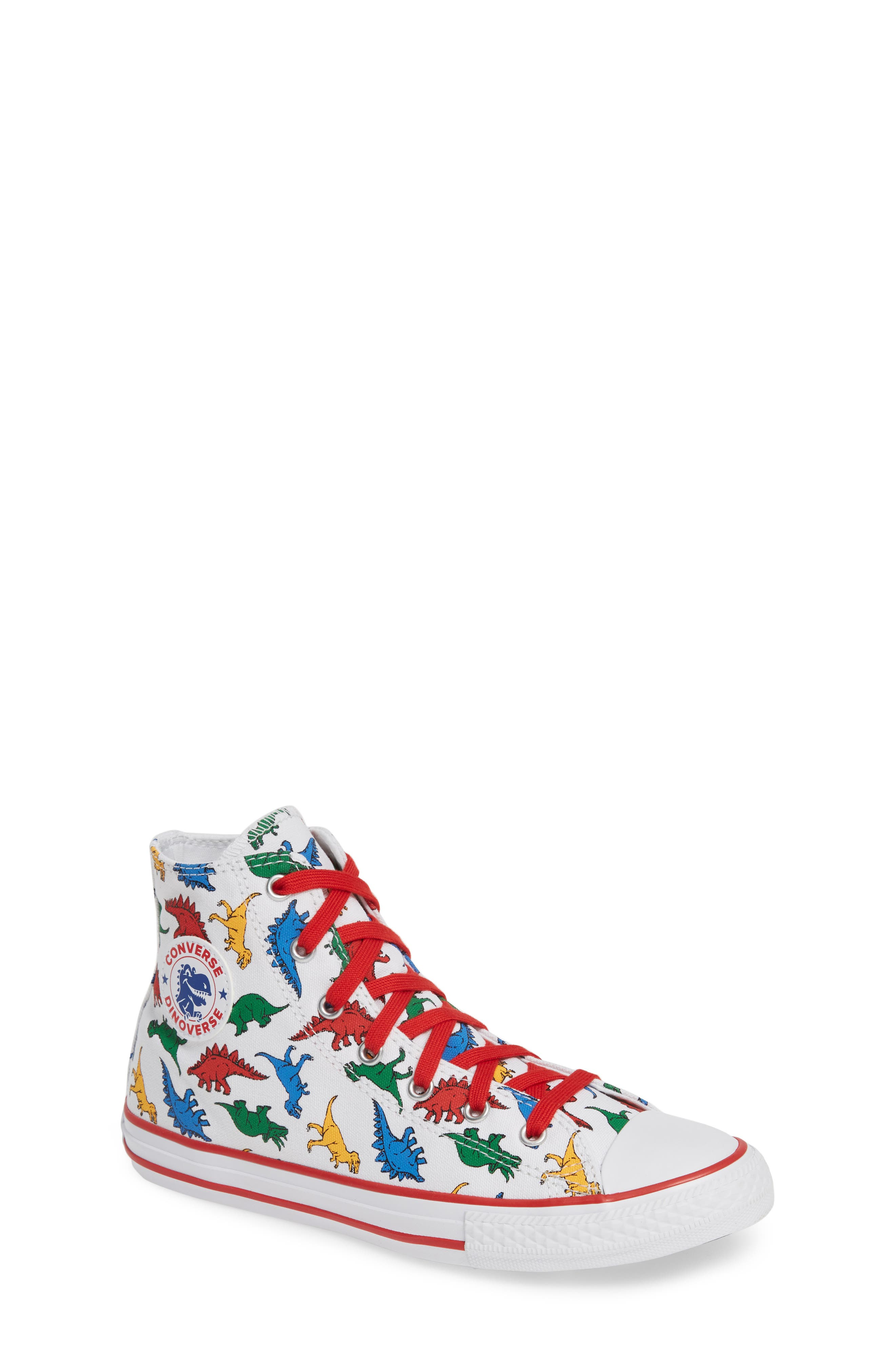 CONVERSE,                             Chuck Taylor<sup>®</sup> All Star<sup>®</sup> Dino High Top Sneaker,                             Main thumbnail 1, color,                             WHITE/ ENAMEL RED/ BLUE DINO