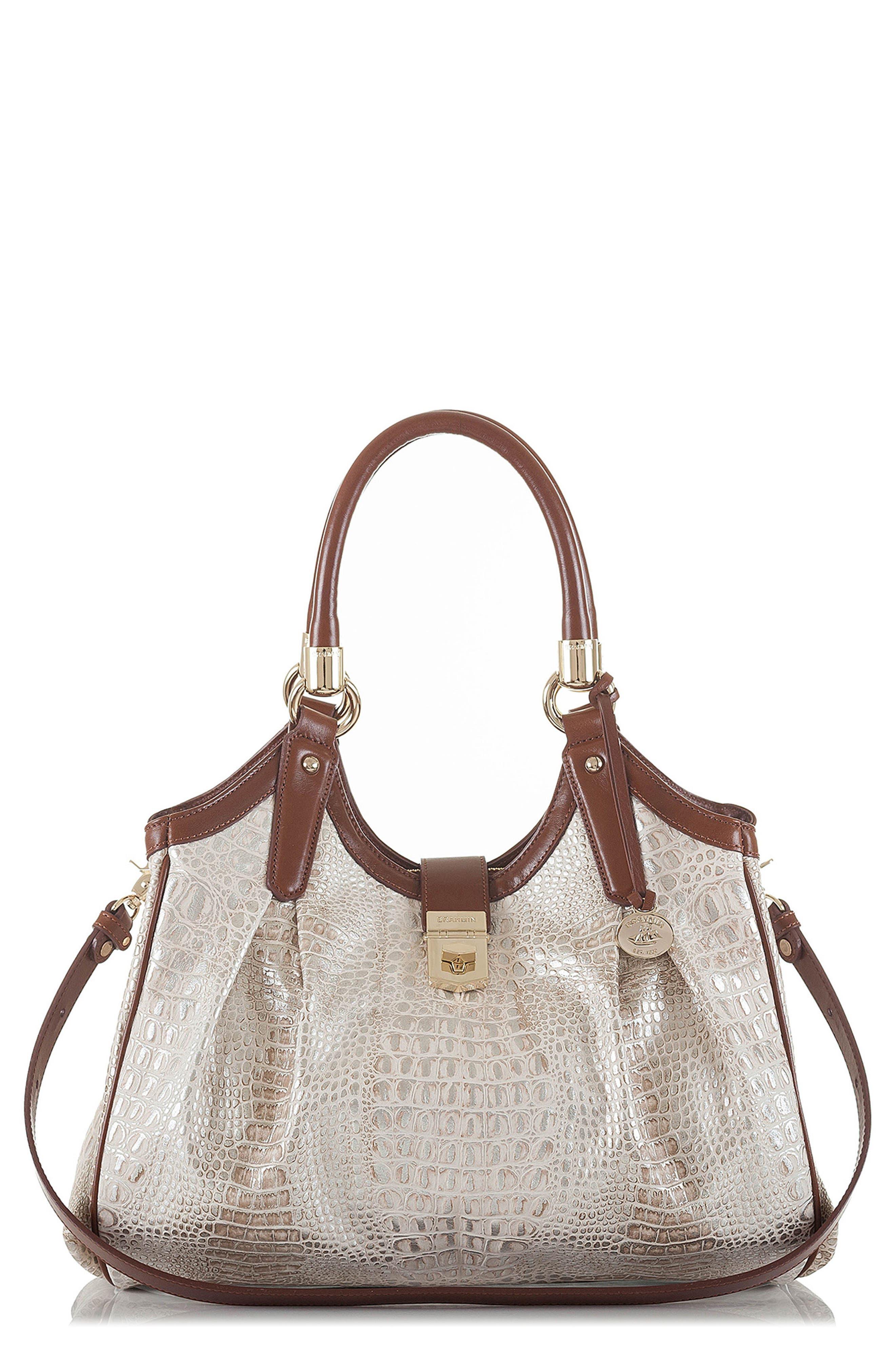 Elisa Croc Embossed Leather Shoulder Bag,                             Main thumbnail 1, color,                             BEIGE