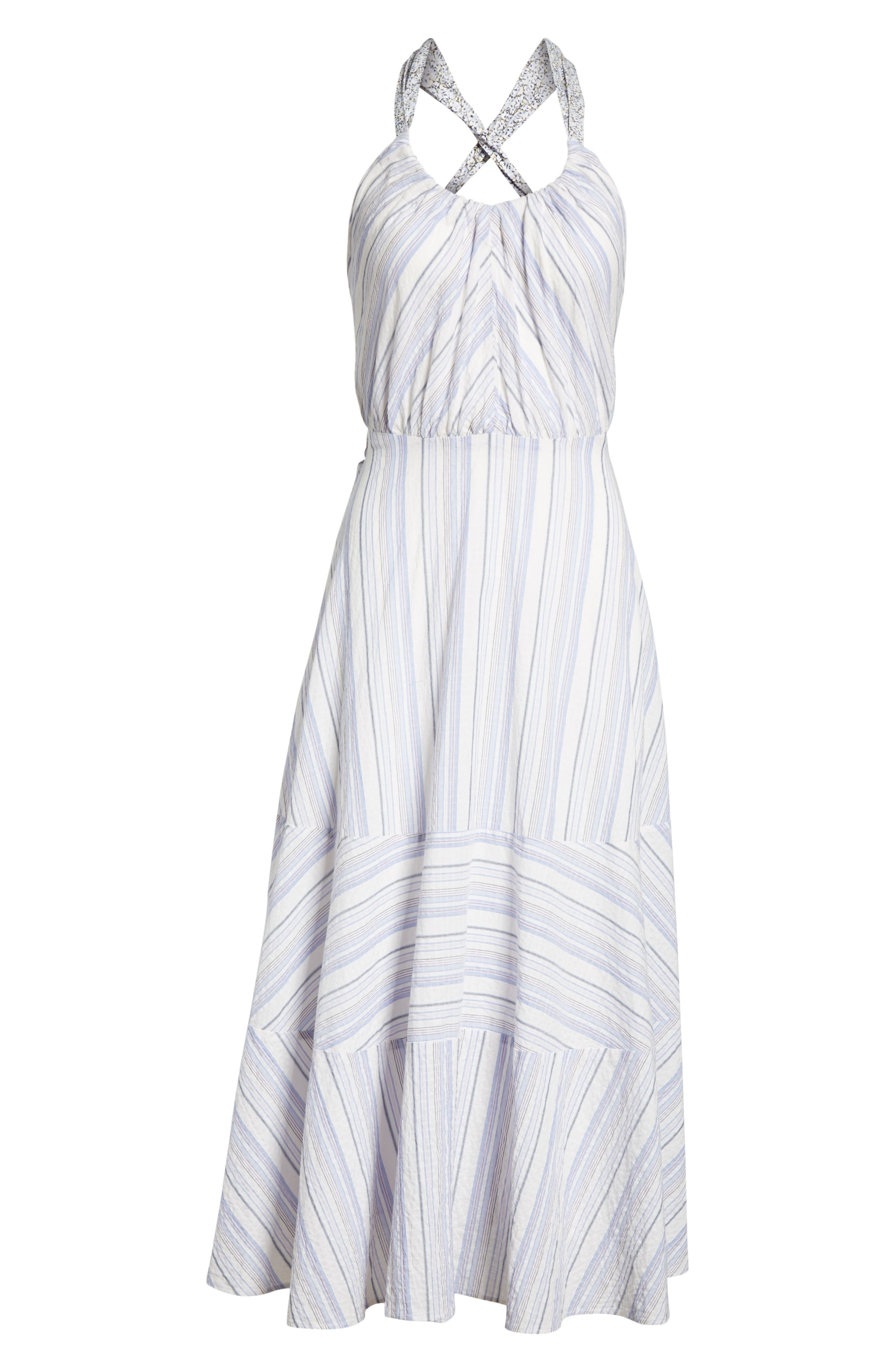 Leila Stripe Midi Dress,                             Alternate thumbnail 6, color,                             151