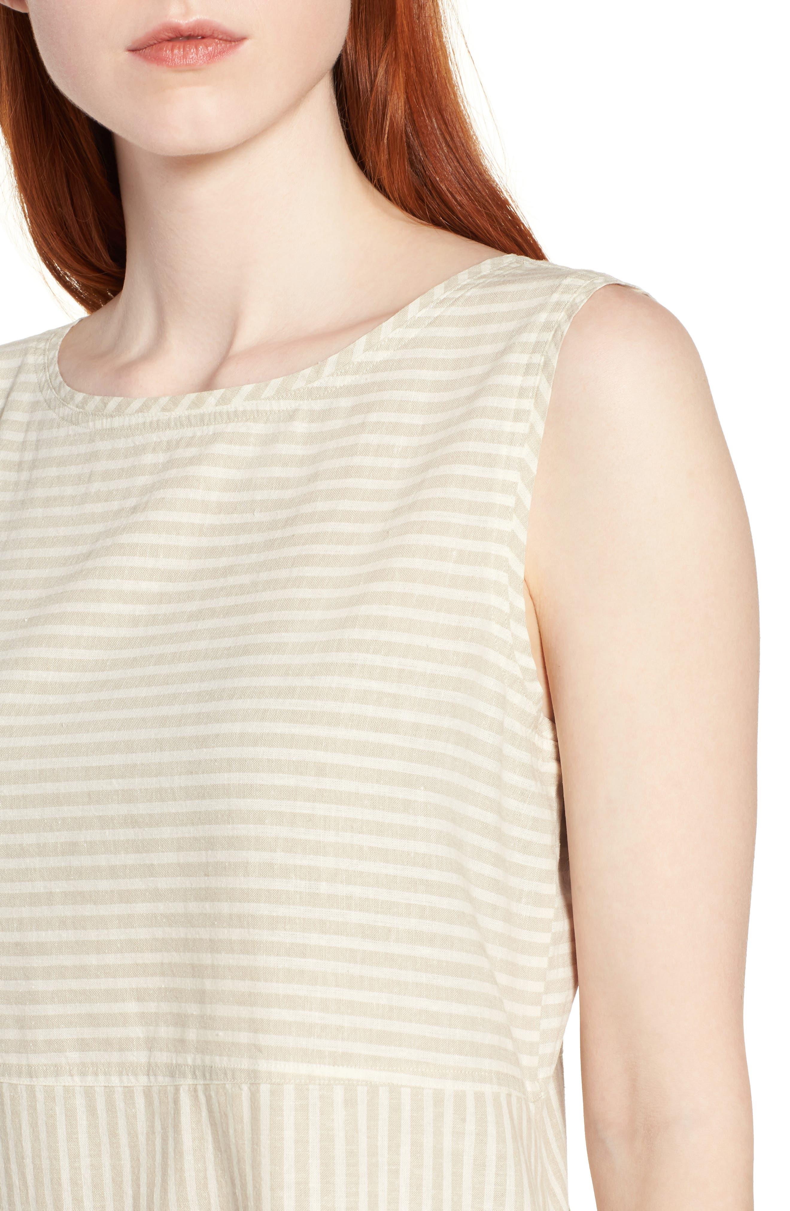 Varied Stripe Hemp & Organic Cotton Shift Dress,                             Alternate thumbnail 4, color,                             257