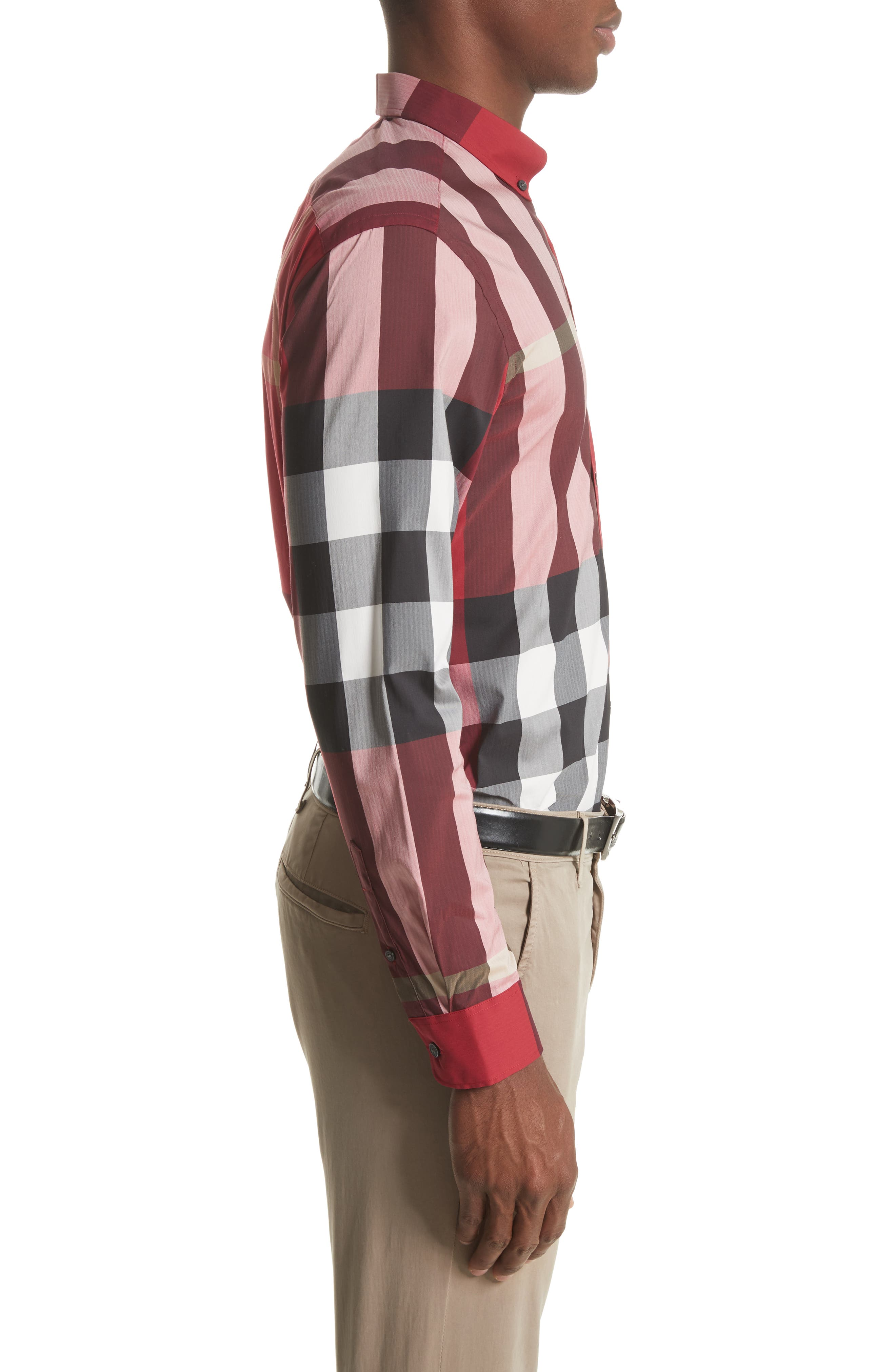 Thornaby Slim Fit Plaid Sportshirt,                             Alternate thumbnail 4, color,                             PARADE RED