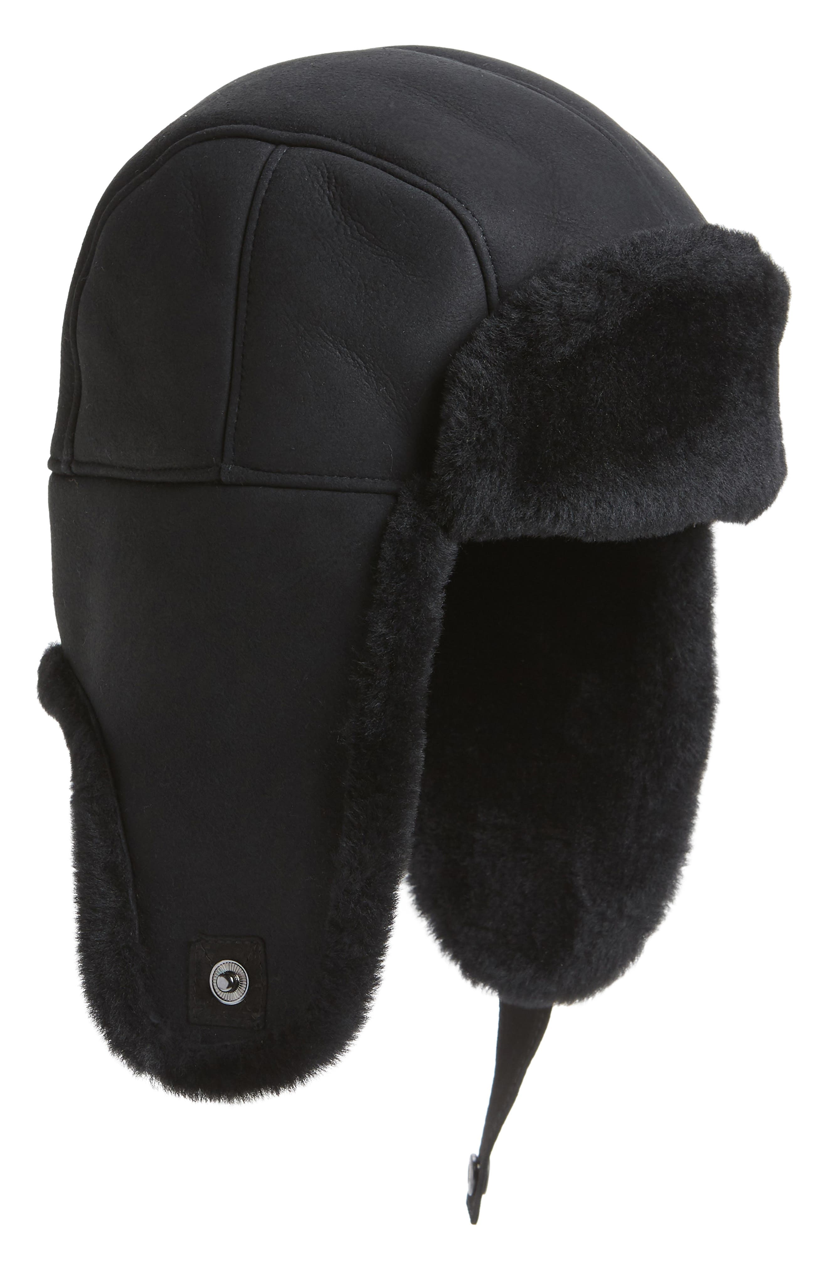 Genuine Shearling Trapper Hat,                             Main thumbnail 1, color,                             001