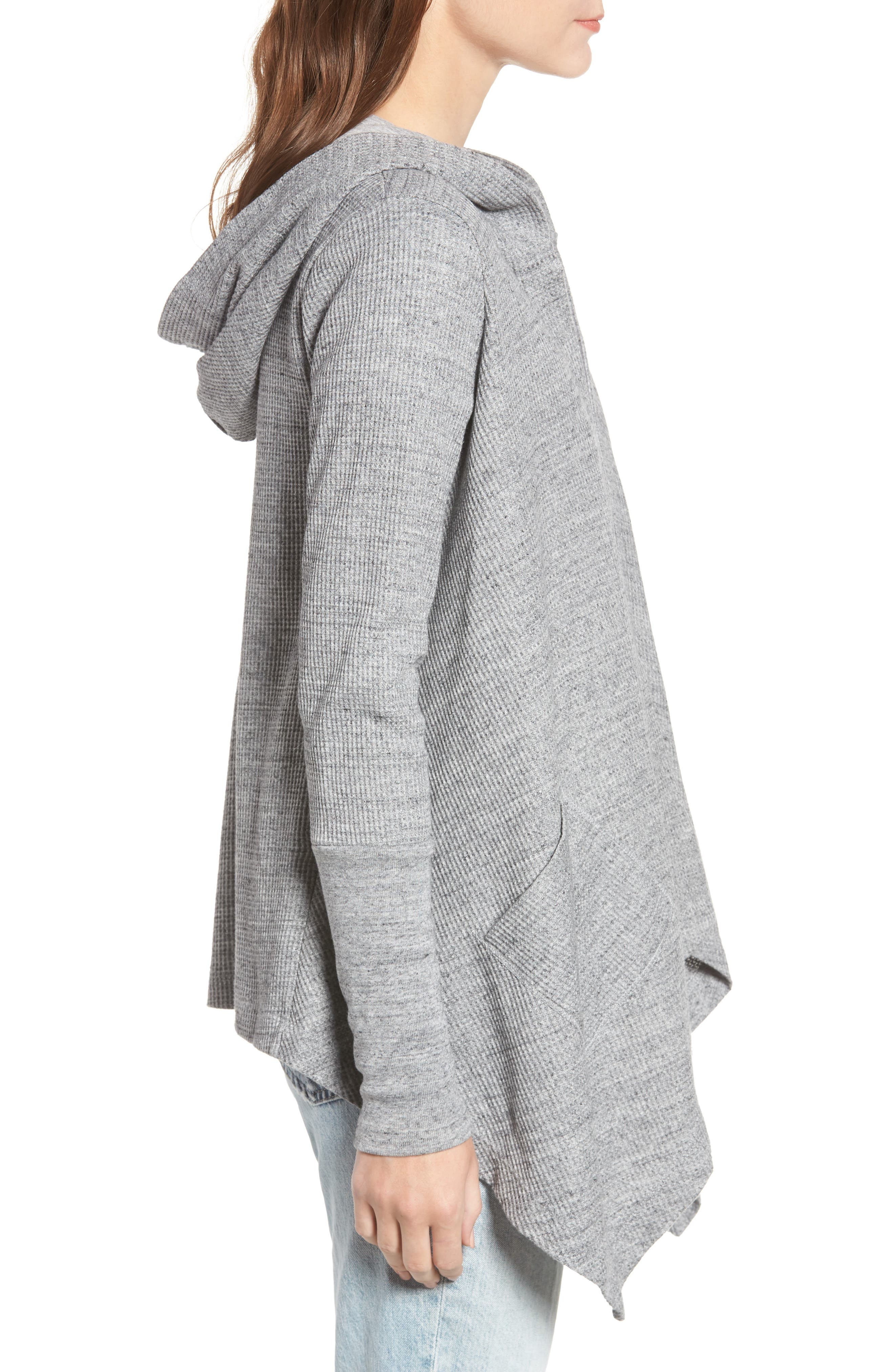 Thermal Hooded Cardigan,                             Alternate thumbnail 3, color,                             GRAVEL HEATHER GREY