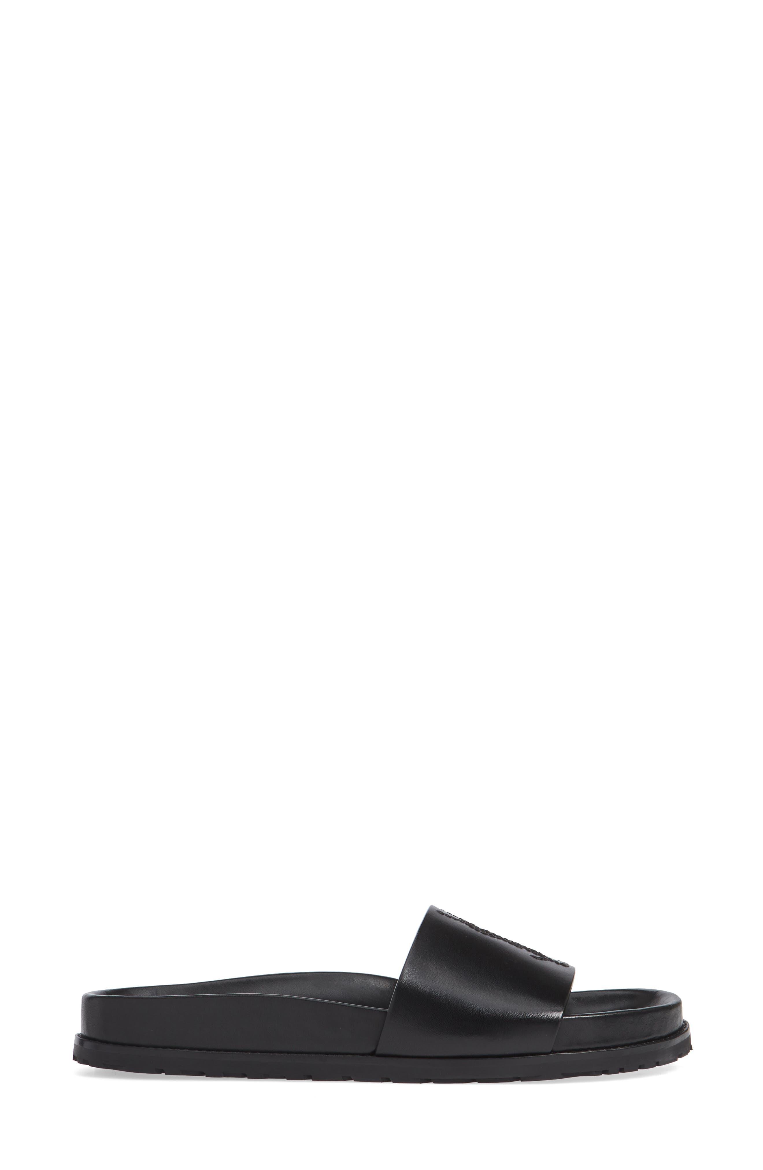 Joan Slide Sandal,                             Alternate thumbnail 3, color,                             BLACK