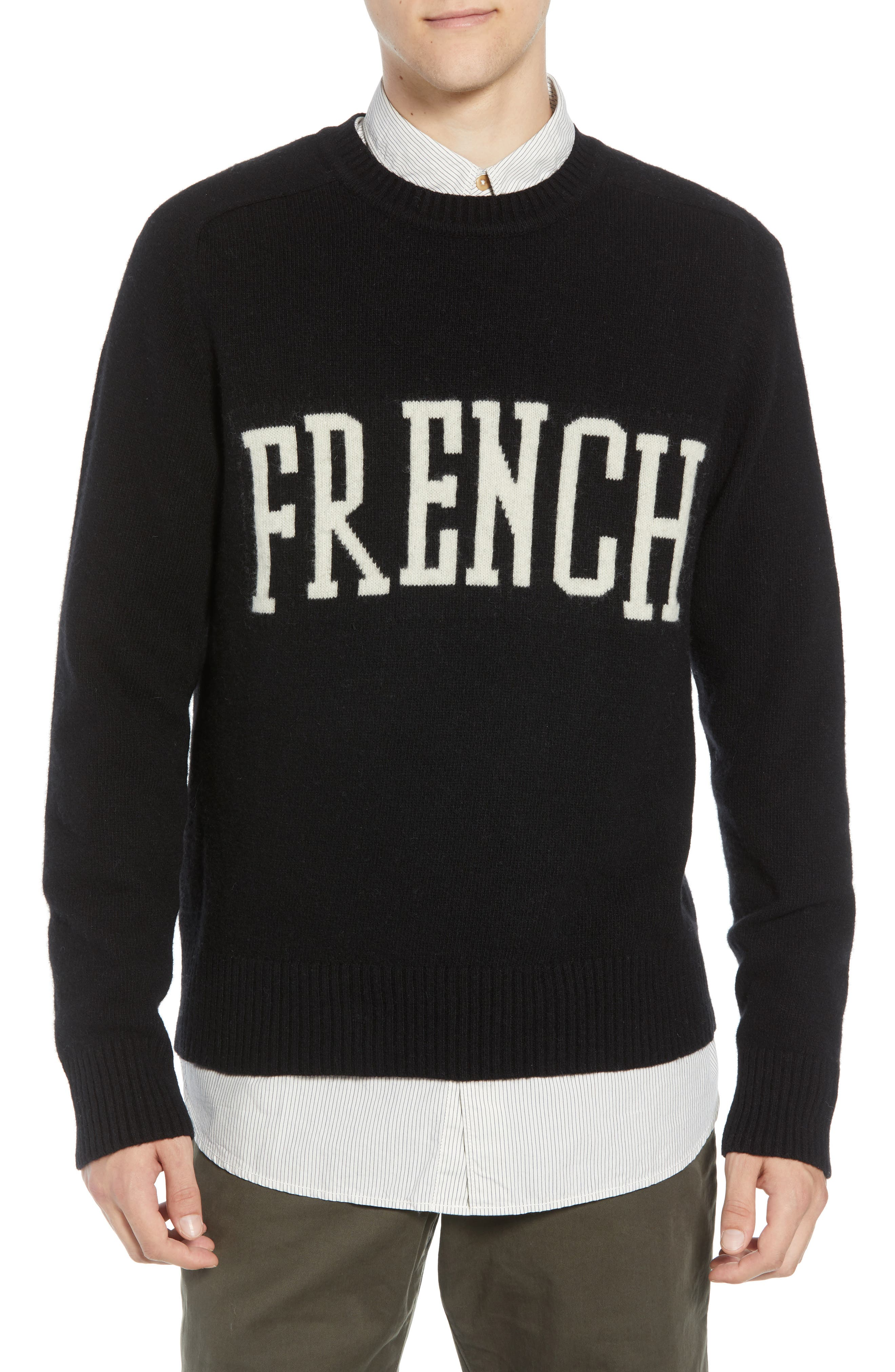 French Connection Intarsia Wool Blend Sweater, Black