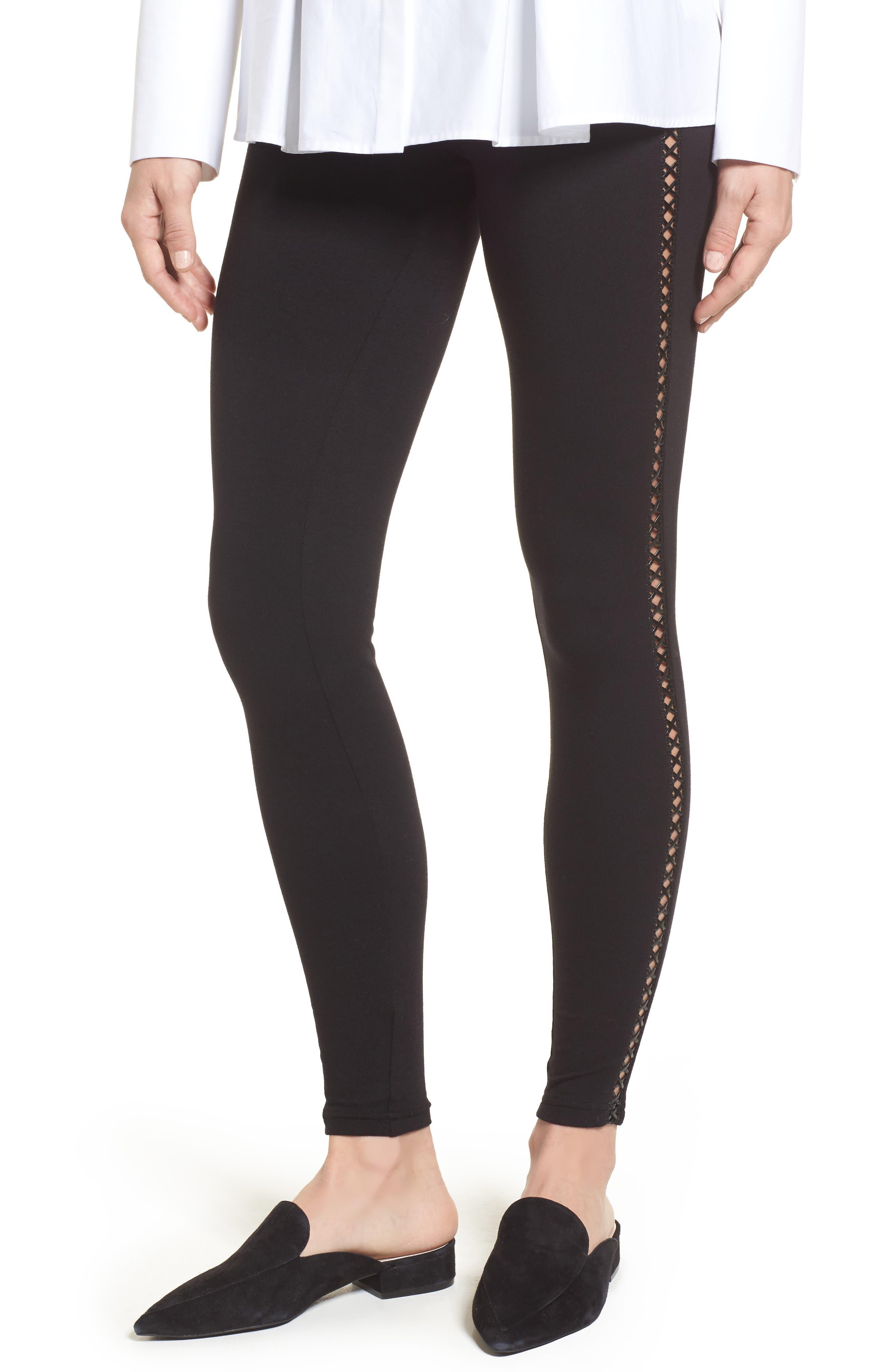 Faux Leather Tuxedo Stripe Leggings,                         Main,                         color, 001