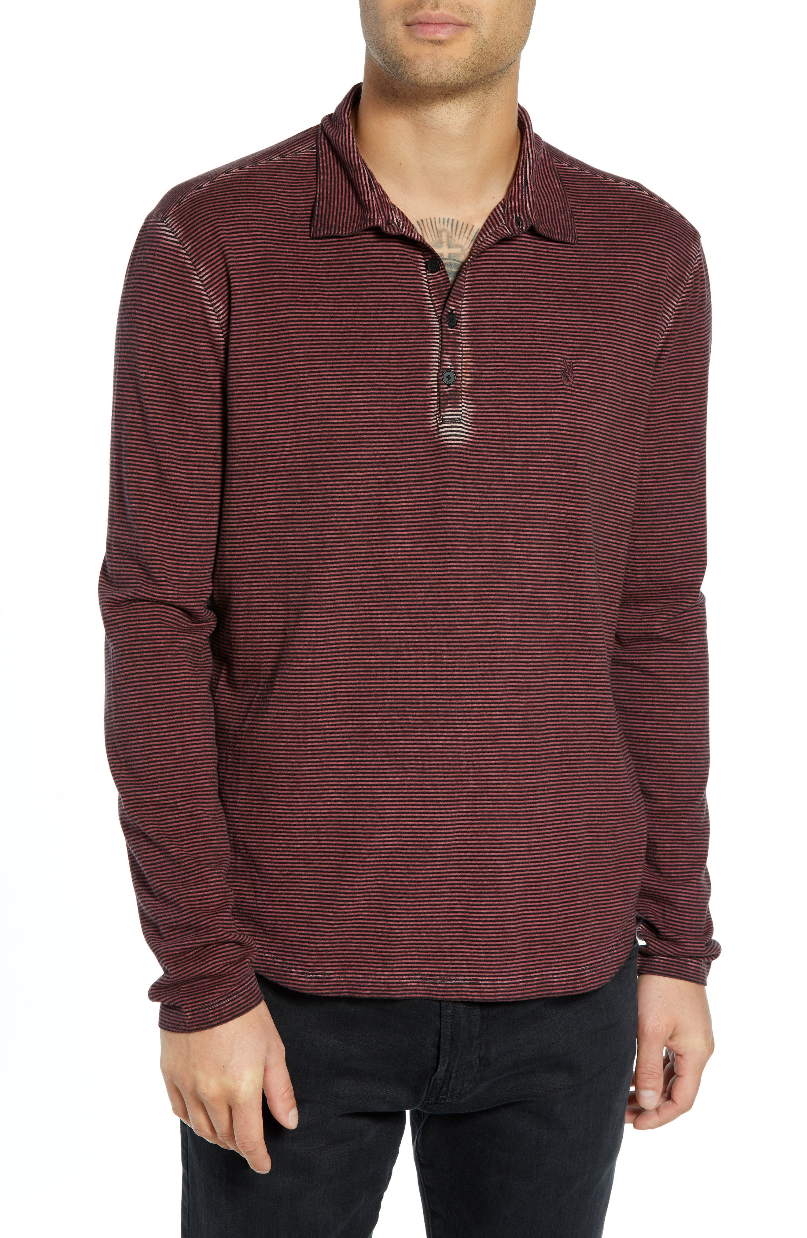 Striped Long Sleeve Polo,                         Main,                         color, BORDEAUX