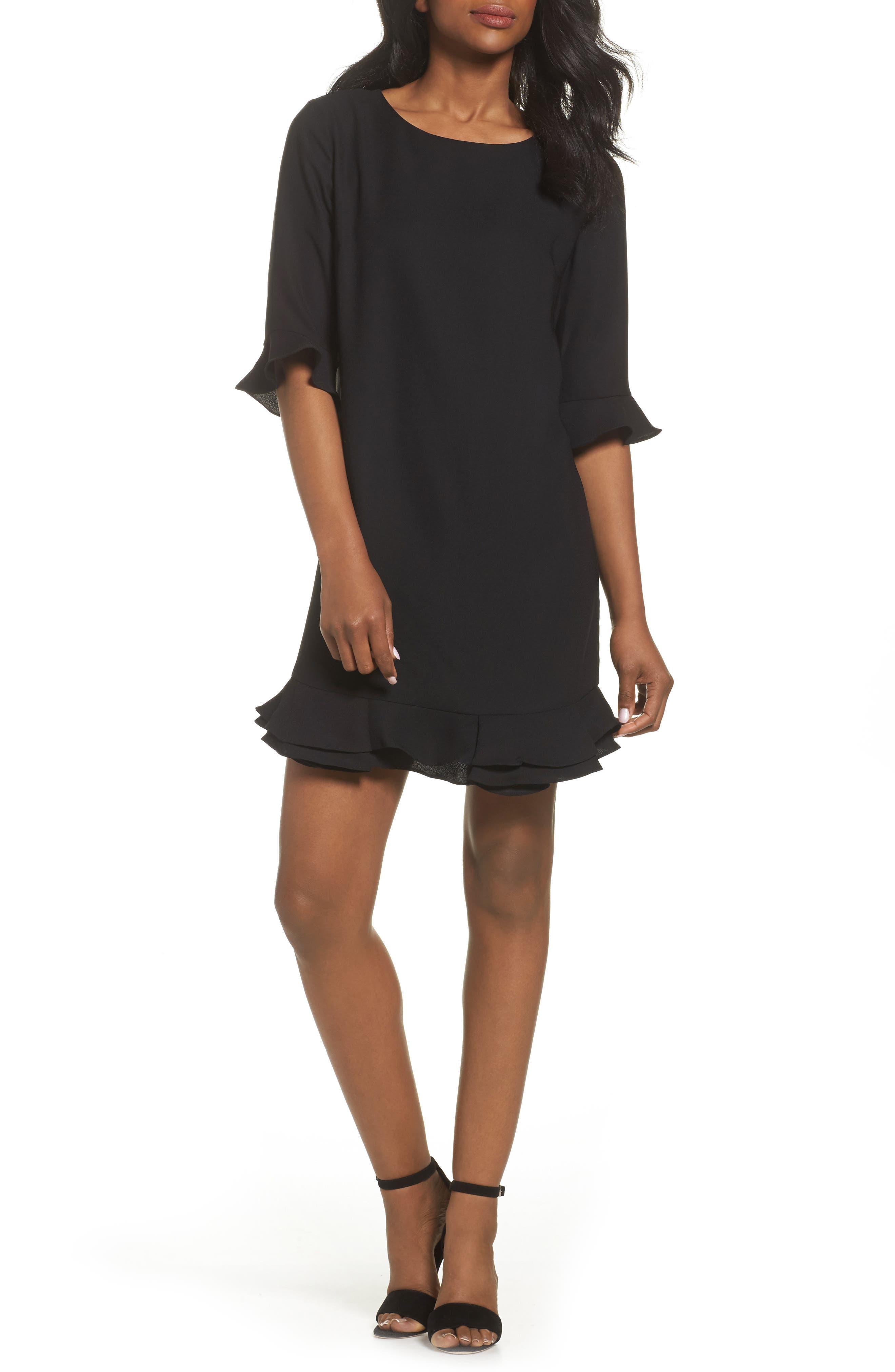'Kate' Ruffle Hem Shift Dress,                         Main,                         color, 001