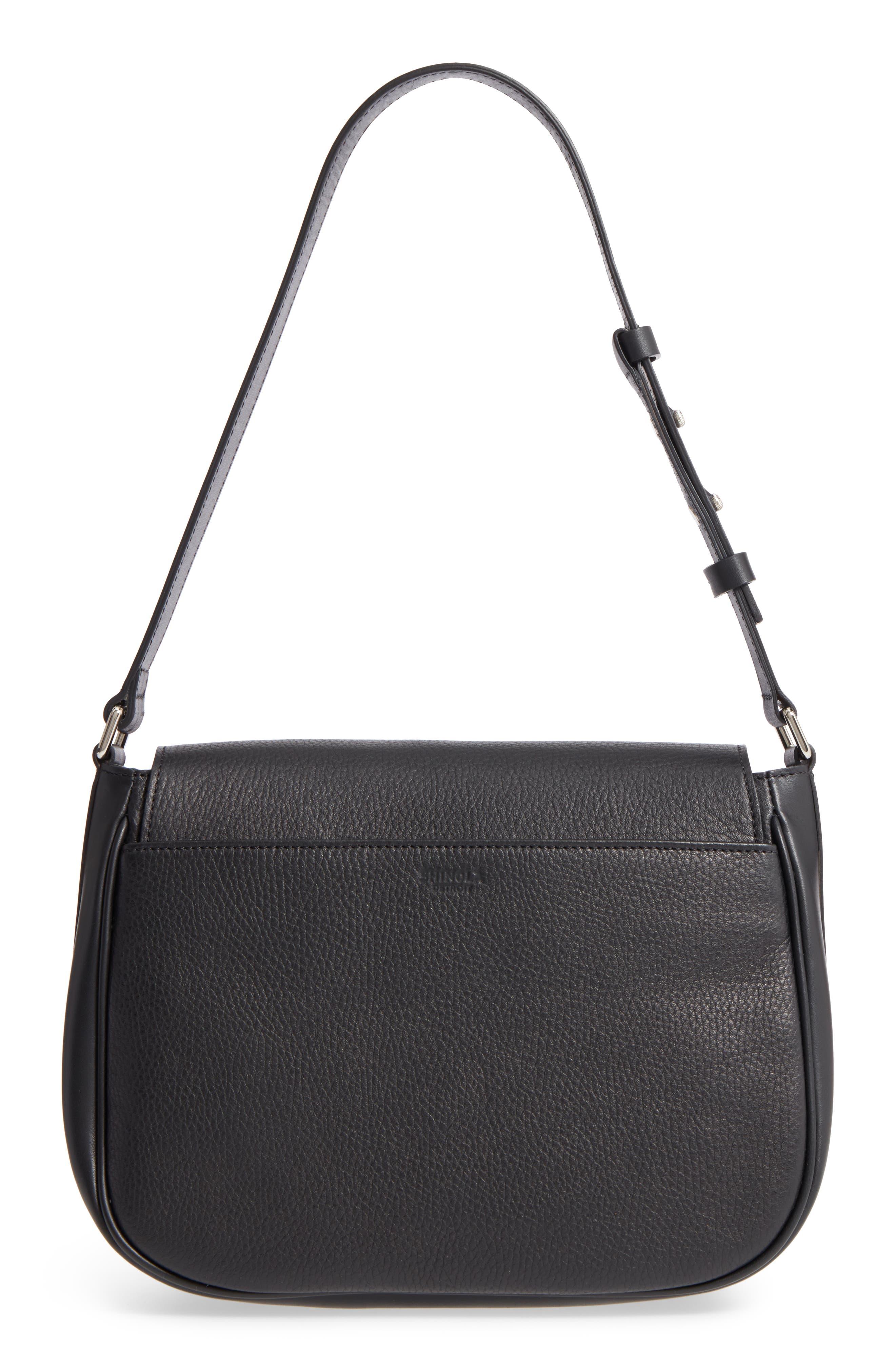 Calfskin Leather Shoulder Bag,                             Alternate thumbnail 3, color,                             001