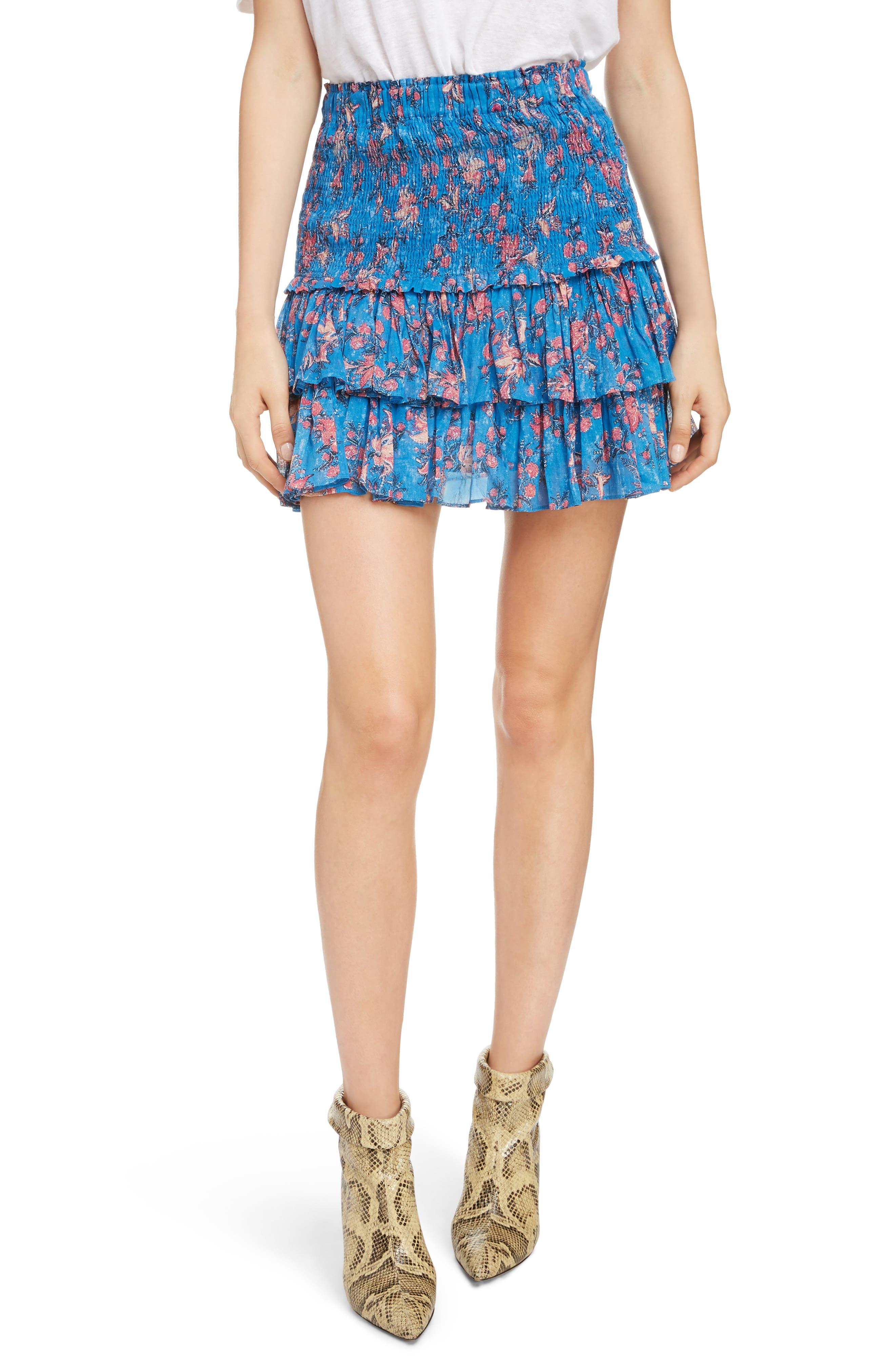 Naomi Shirred Miniskirt, Main, color, BLUE
