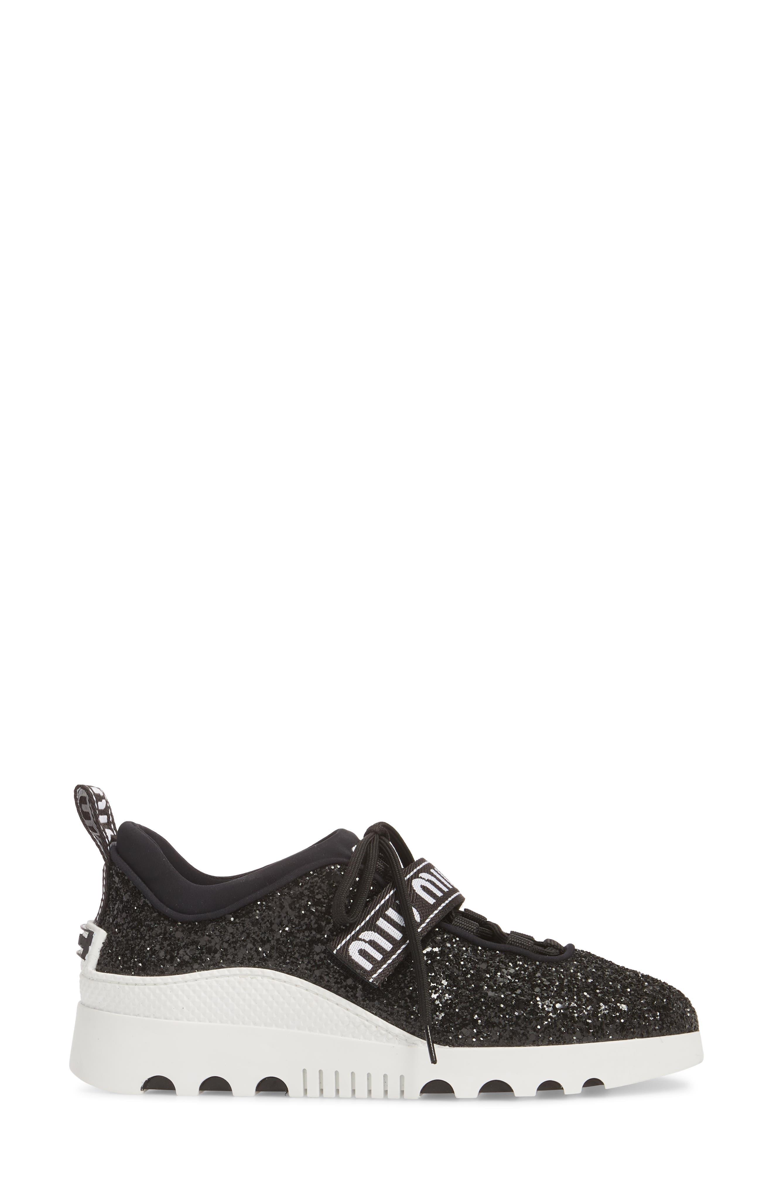 Logo Strap Platform Sneaker,                             Alternate thumbnail 3, color,                             BLACK GLITTER
