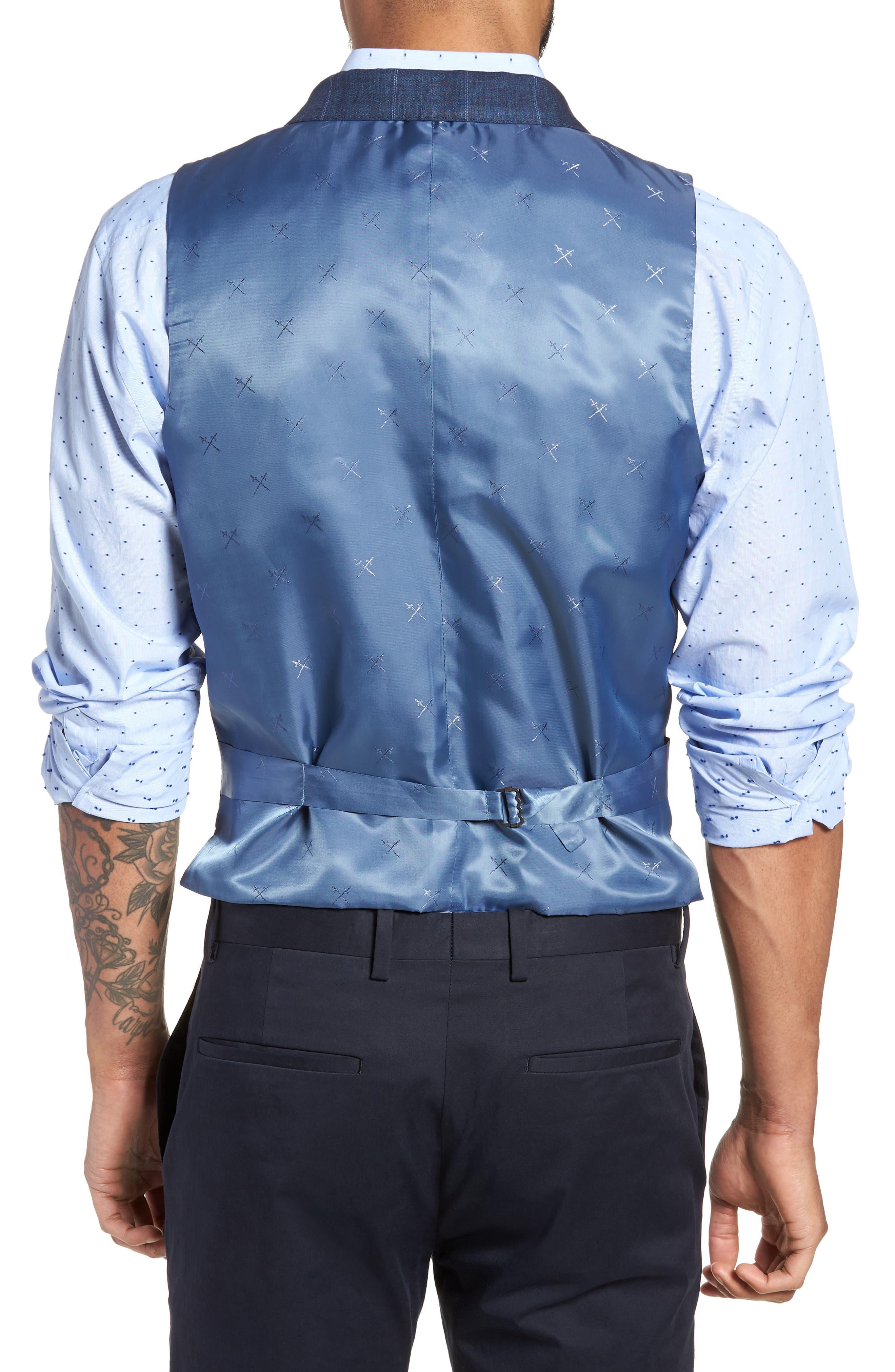 Stag Trim Fit Windowpane Linen Vest,                             Alternate thumbnail 2, color,                             400