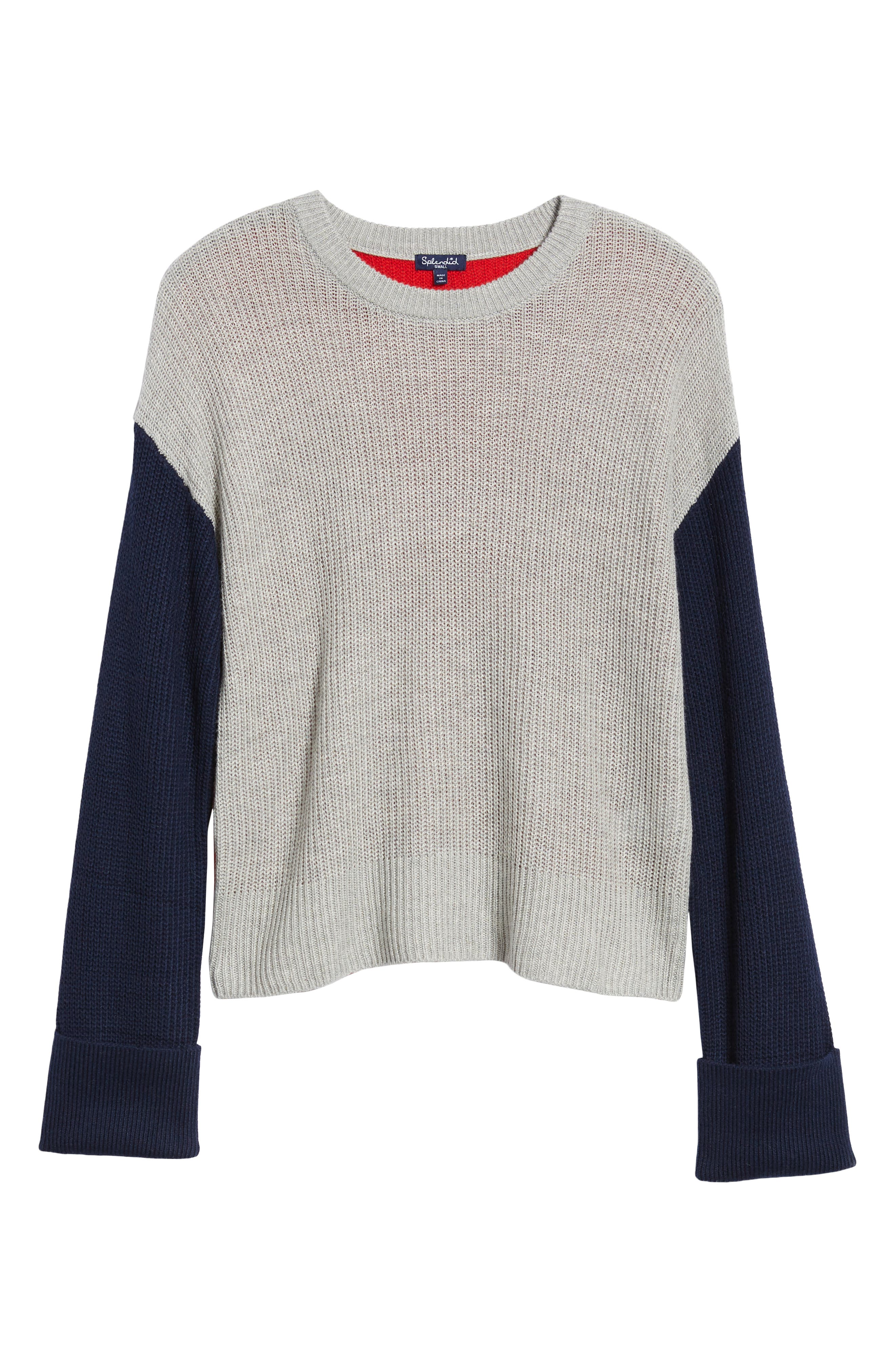 Colorblock Sweater,                             Alternate thumbnail 6, color,                             GREY/ NAVY