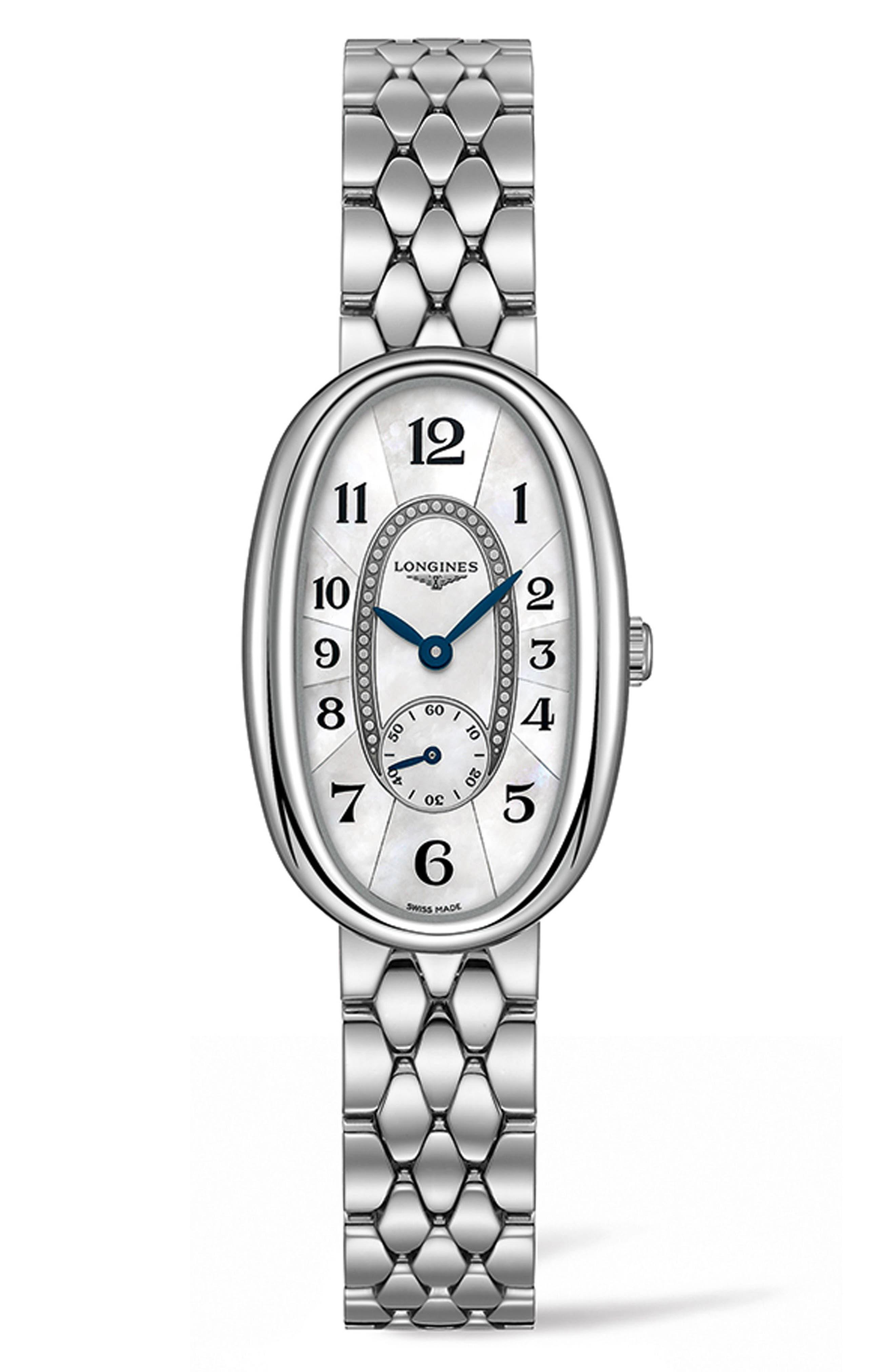Symphonette Bracelet Watch, 21.9mm x 34mm,                             Main thumbnail 1, color,                             SILVER