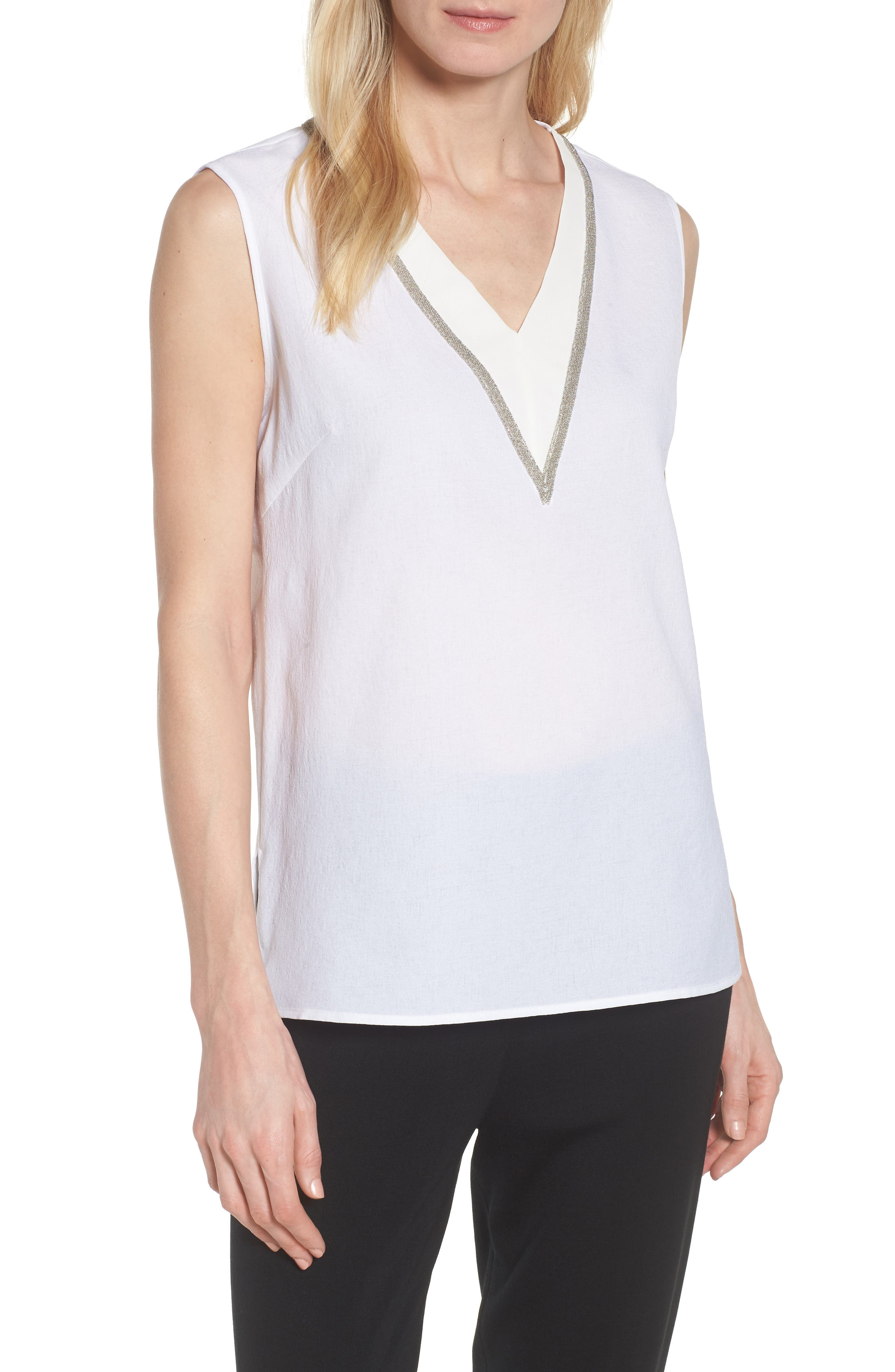 V-Neck Accent Tank,                             Main thumbnail 1, color,                             WHITE