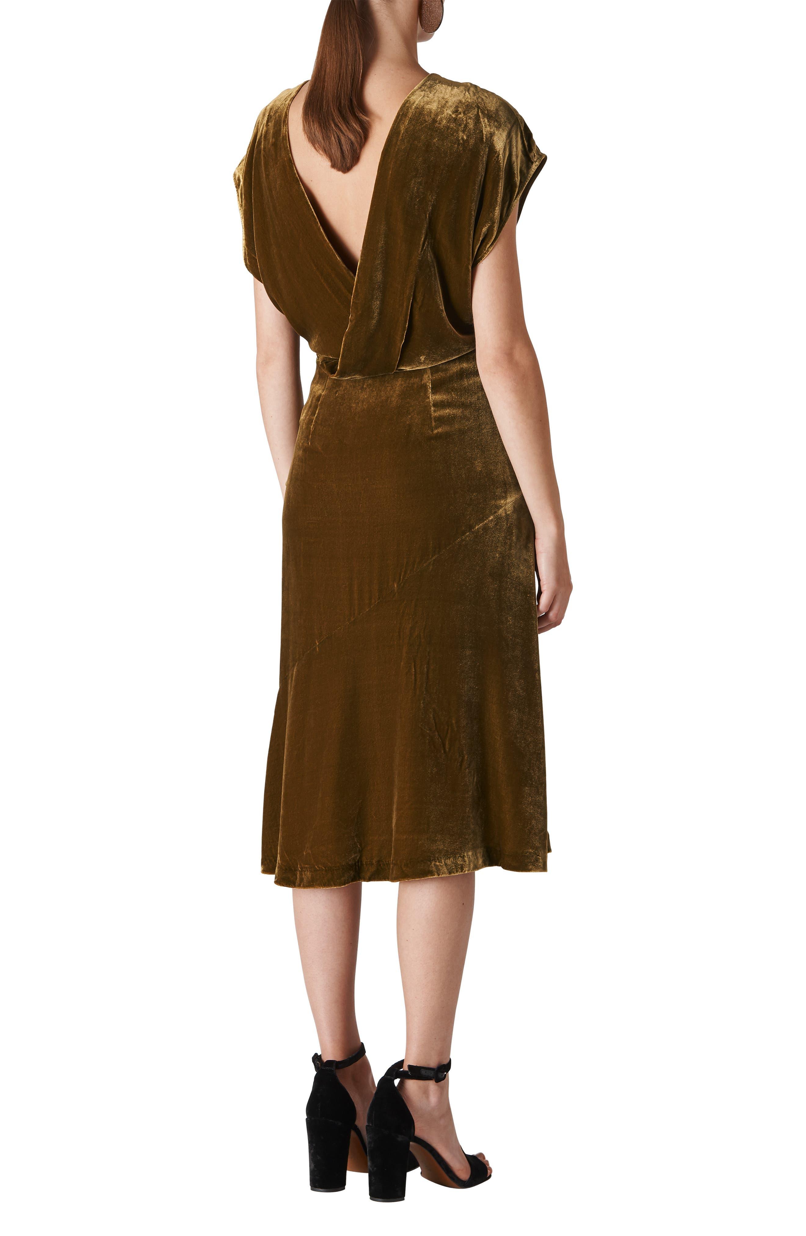 Mina Velvet Midi Dress,                             Alternate thumbnail 2, color,                             710