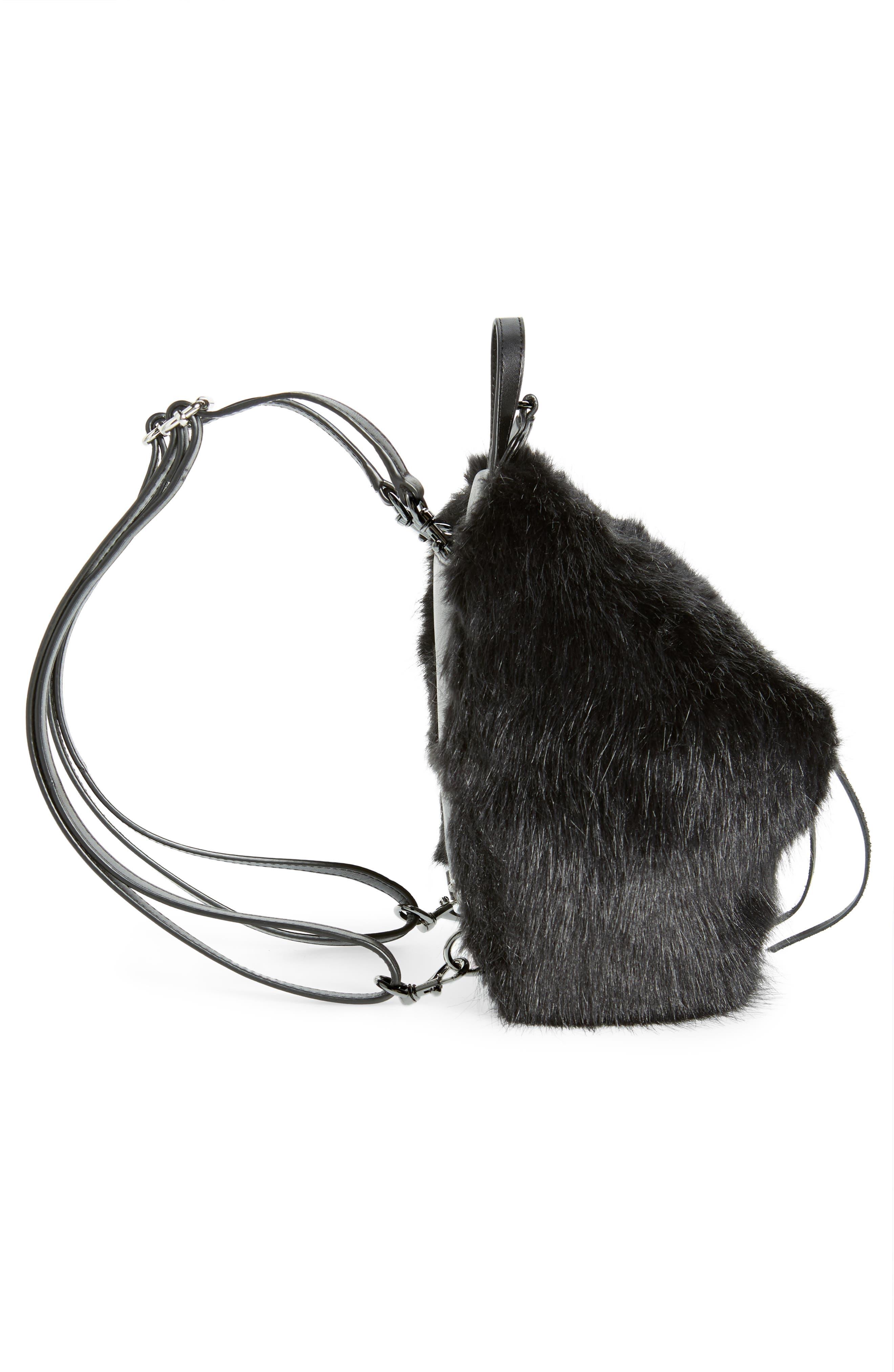 Mini Julian Faux Fur Backpack,                             Alternate thumbnail 6, color,                             BLACK