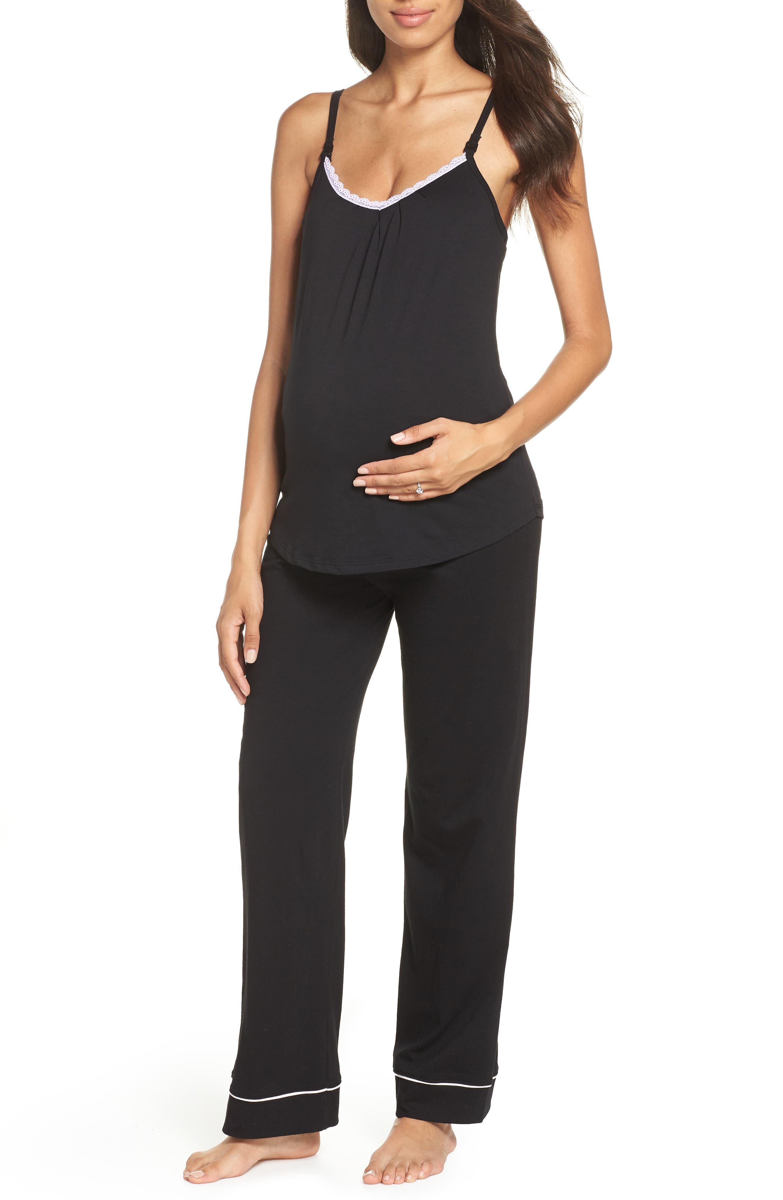 Maternity/Nursing Robe & Pajamas,                             Alternate thumbnail 2, color,                             BLACK