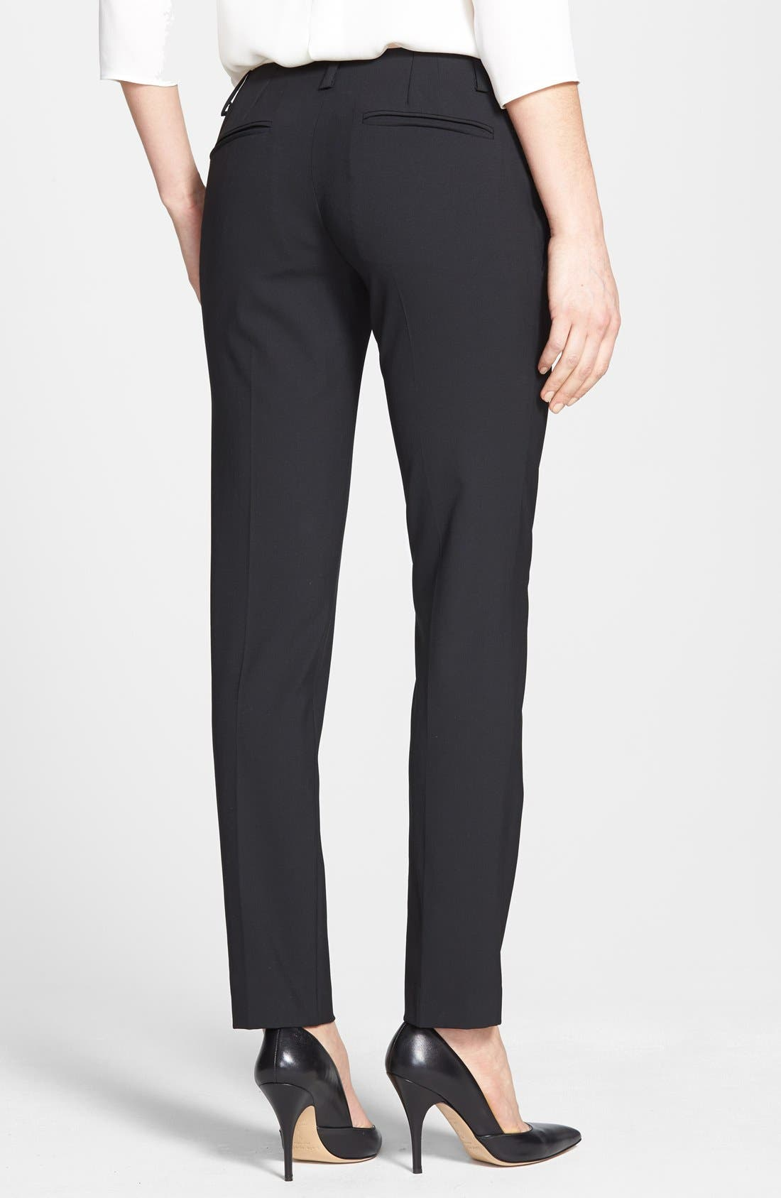 'Ines' Crop Stretch Wool Trousers,                             Alternate thumbnail 2, color,                             001