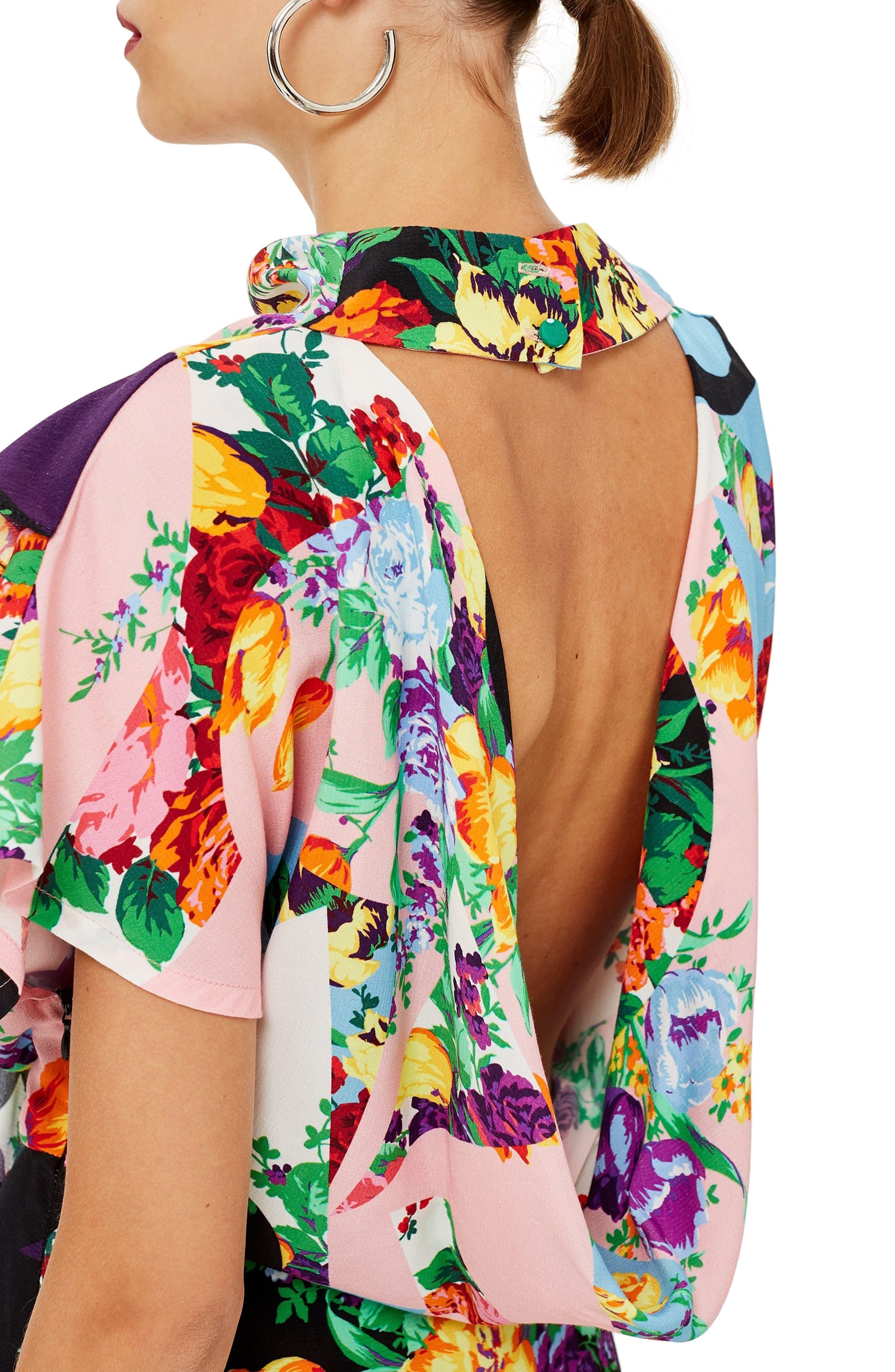 Cowl Back Midi Dress,                             Alternate thumbnail 4, color,                             PINK MULTI
