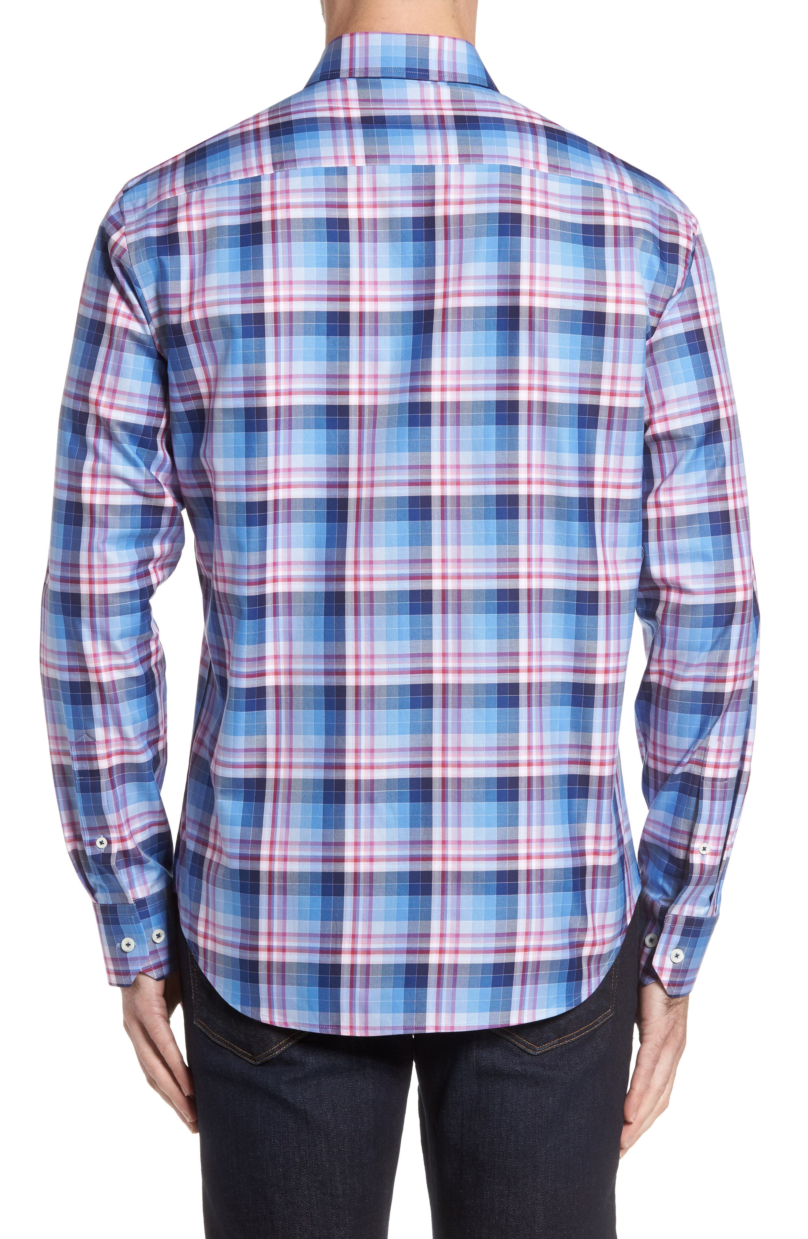 Shaped Fit Check Sport Shirt,                             Alternate thumbnail 2, color,                             420