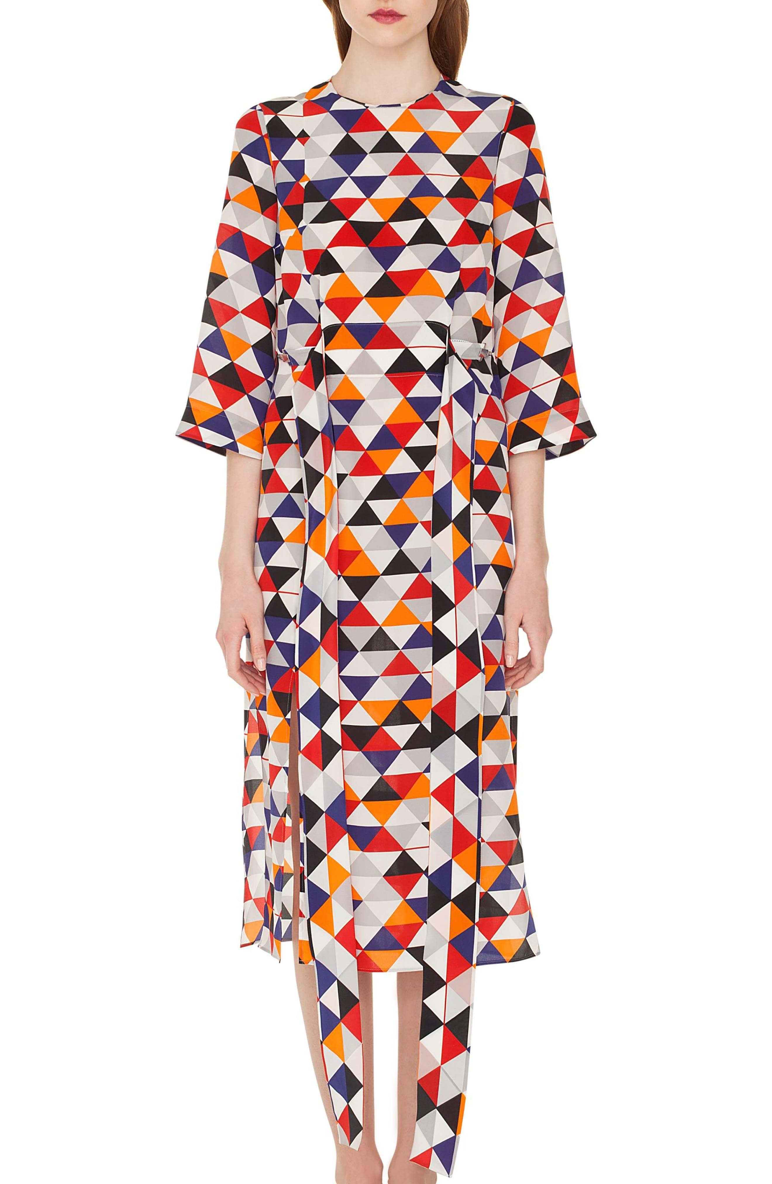 Diamond Print Silk Crepe Dress,                         Main,                         color, MULTICOLOR