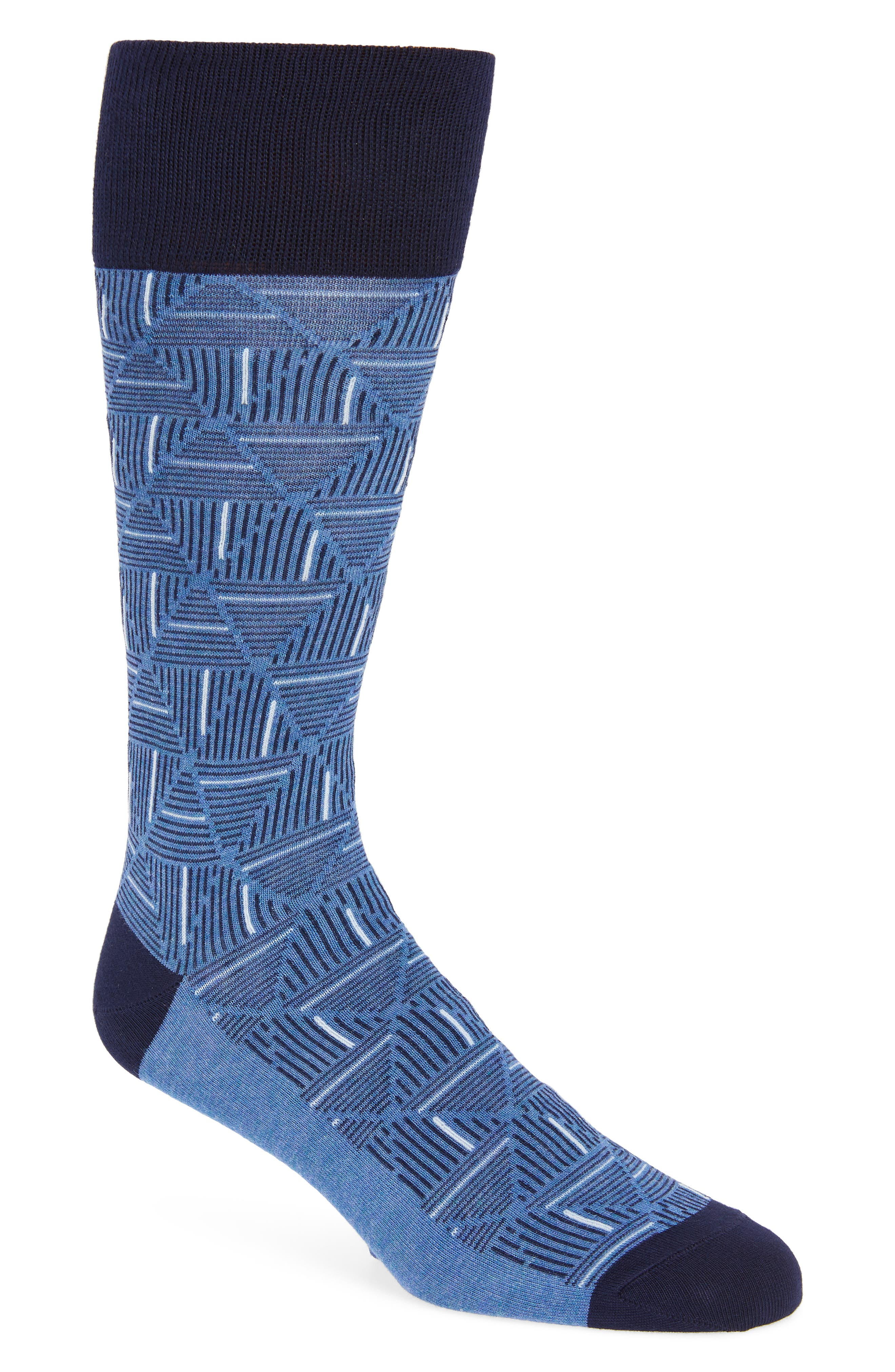 Triangle Lines Geometric Socks,                             Main thumbnail 1, color,                             401